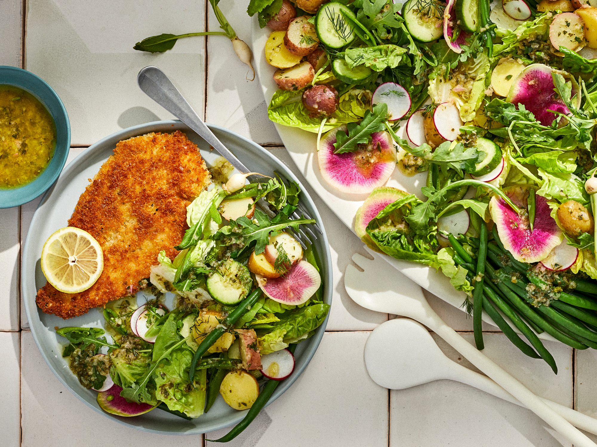 Chicken Cutlets with Spring Salad and Herb Vinaigrette image