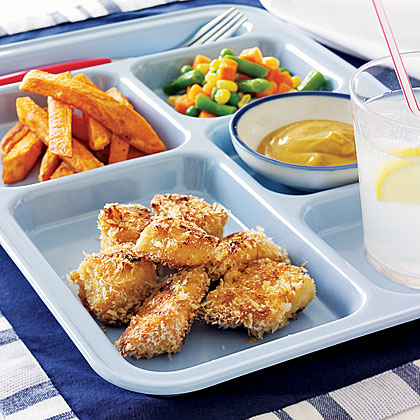 This is the best chicken I've ever had,  sums up the thoughts of all of our judges, especially Emilie, 9. These oven-fried chicken breast nuggets are lower in fat and calories than the traditional drive-thru nuggets, and baked sweet potato fries instead of French fries make a healthy substitute.Recipe: Chicken Nuggets and Sweet Fries