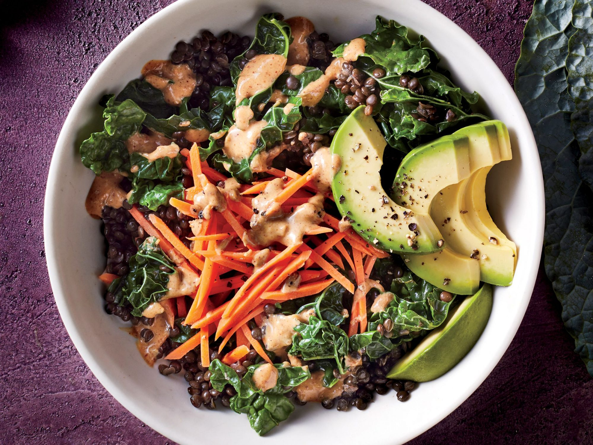 Kale and Lentil Bowl with Thai Almond Sauce