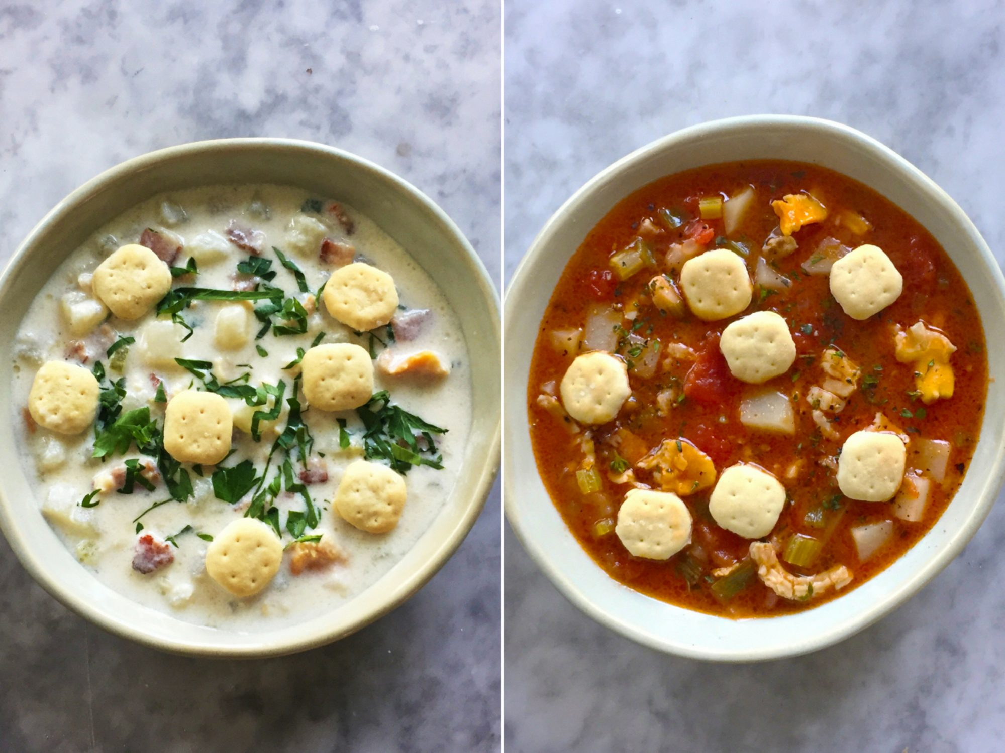 New England vs Manhattan Clam Chowder