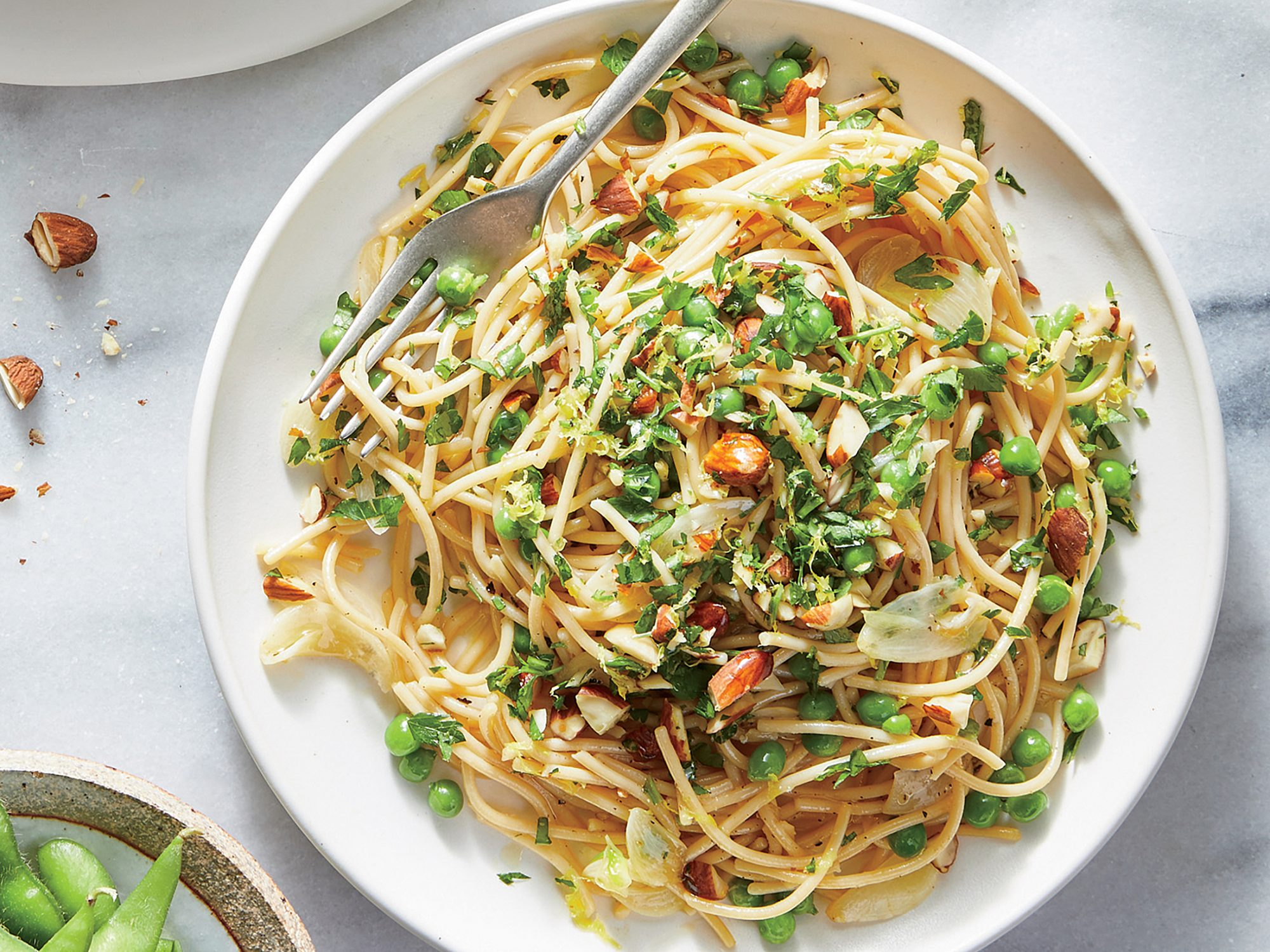 Pasta with Green Peas and Almond Gremolata