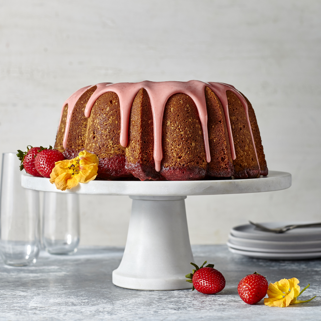 Strawberry Poke Pound Cake with Strawberry Glaze image