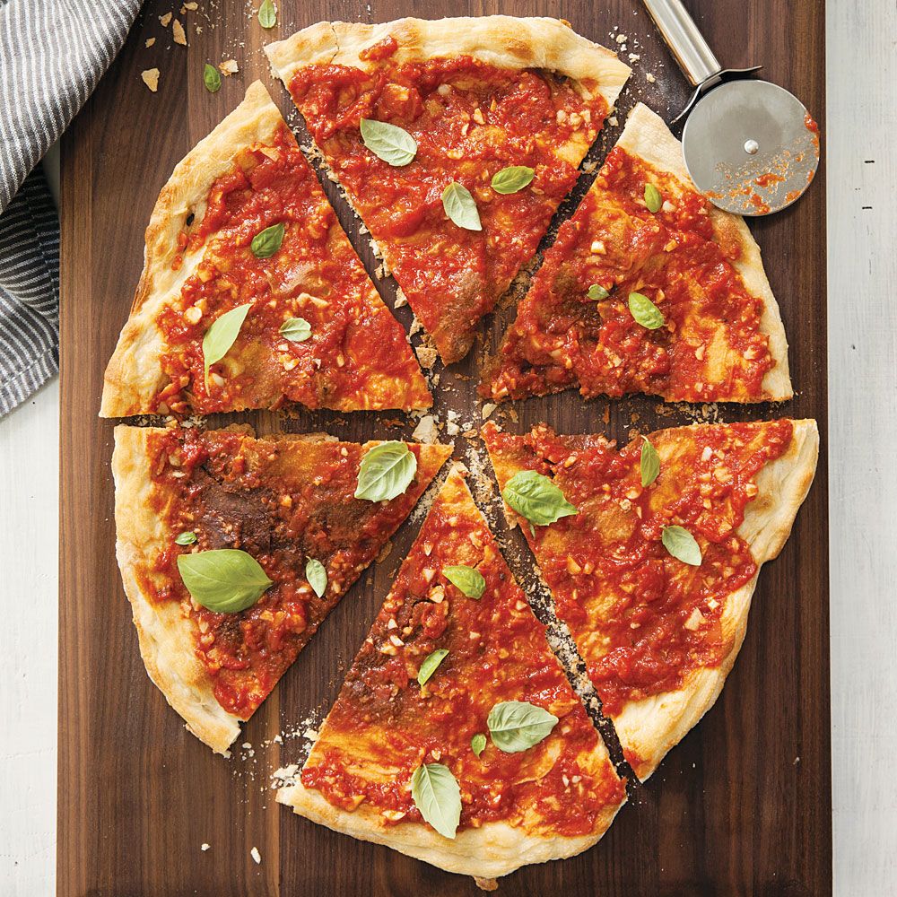Cracker-Thin Pizza with Super-Garlicky Tomato Sauce