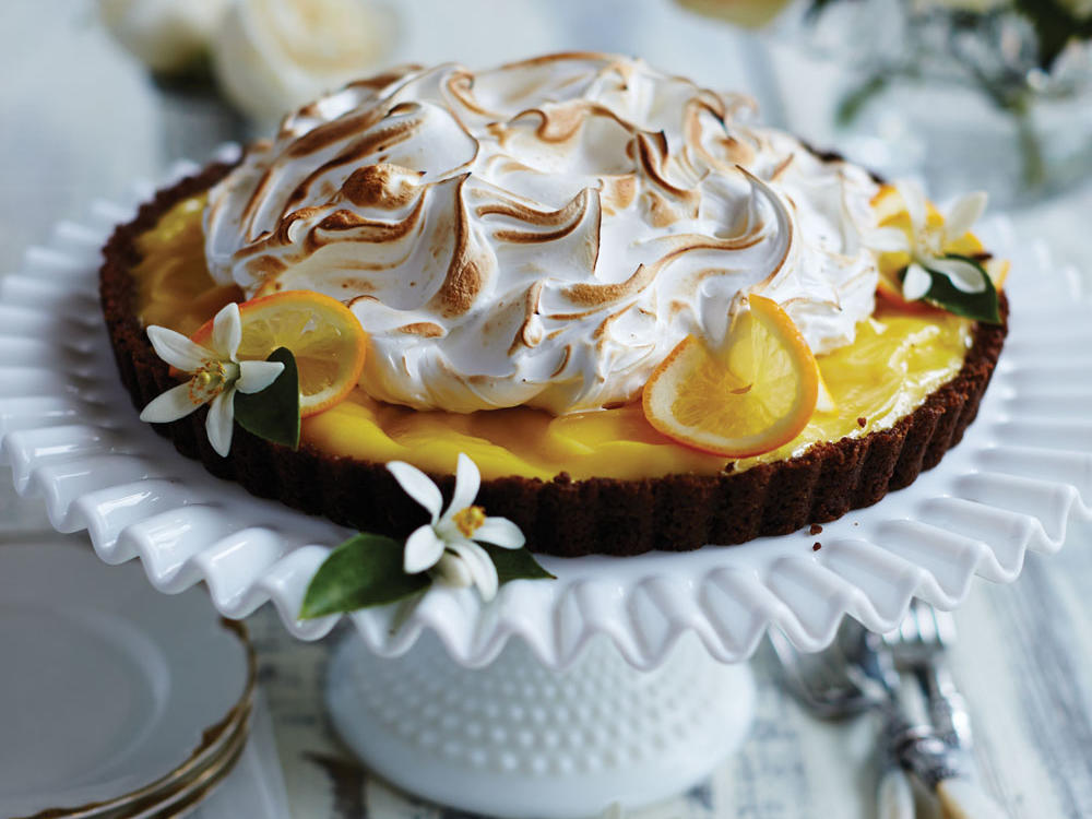 Gingersnap-Meyer Lemon Meringue Tart