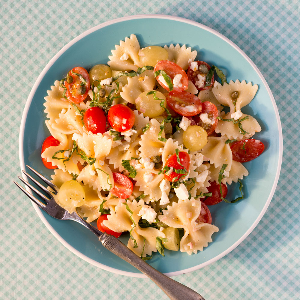 Bow Ties with Tomatoes, Feta, and Balsamic Dressing               &#