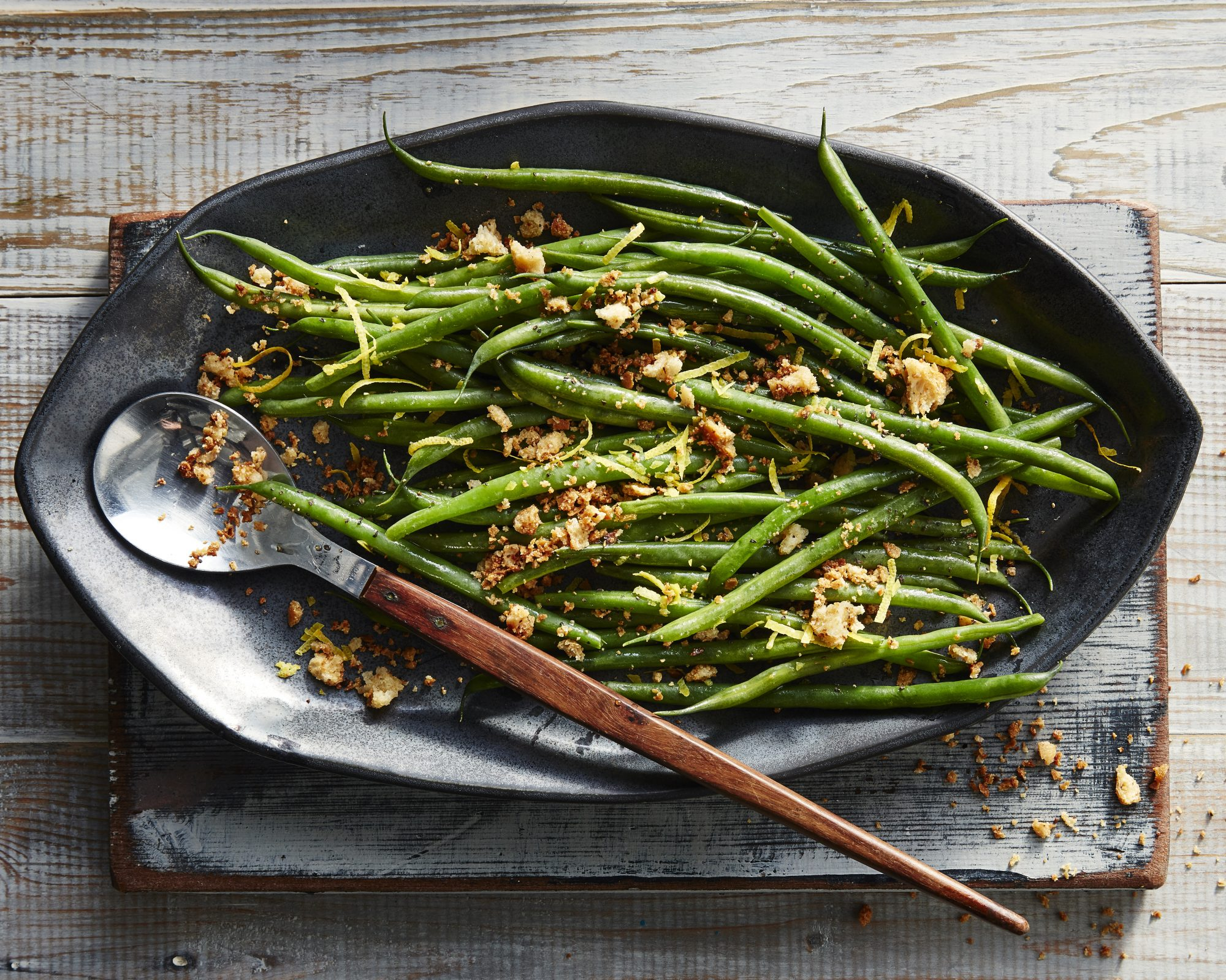Green Beans with Crisp Meyer Lemon Bread Crumbs