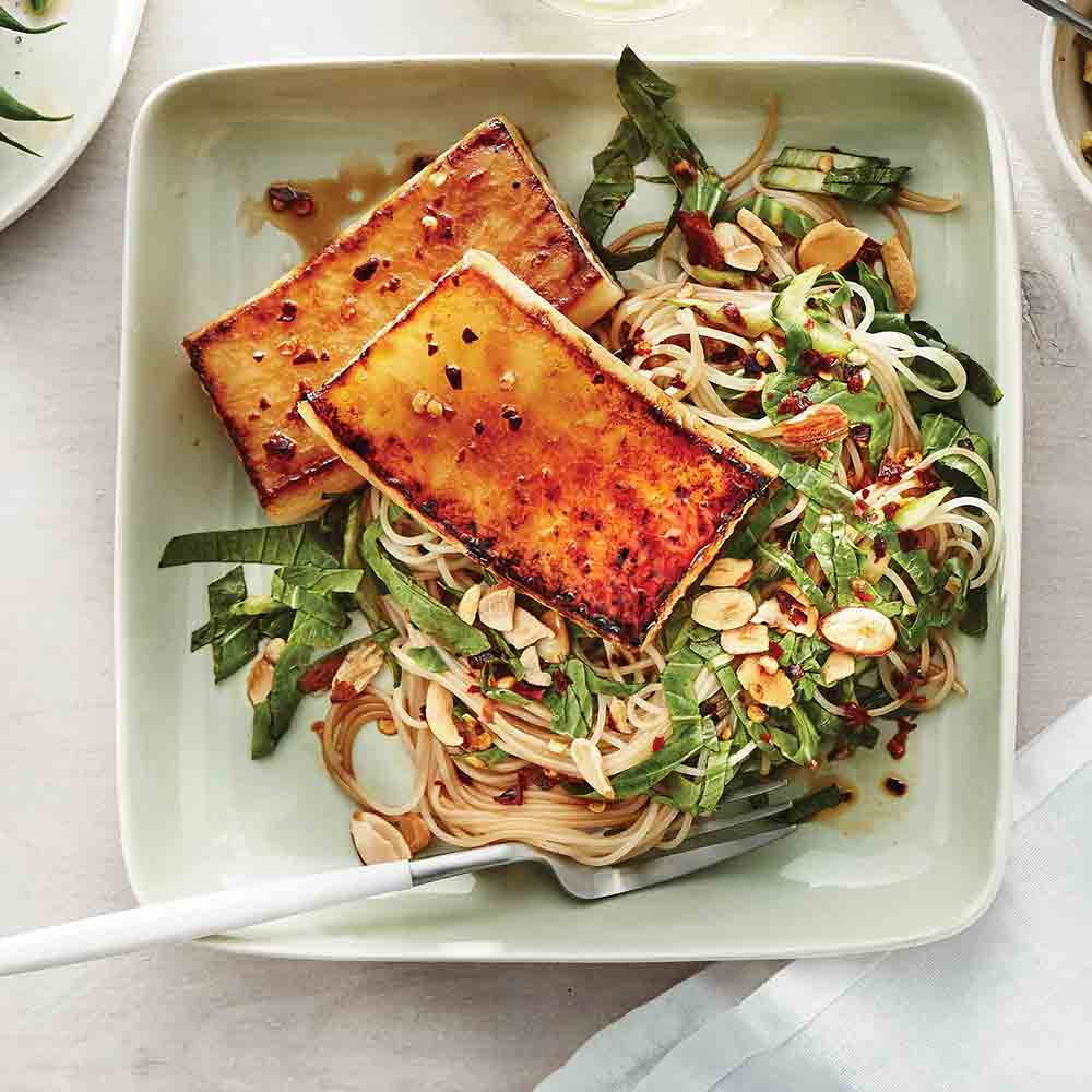 Daikon Steaks with Glass Noodles