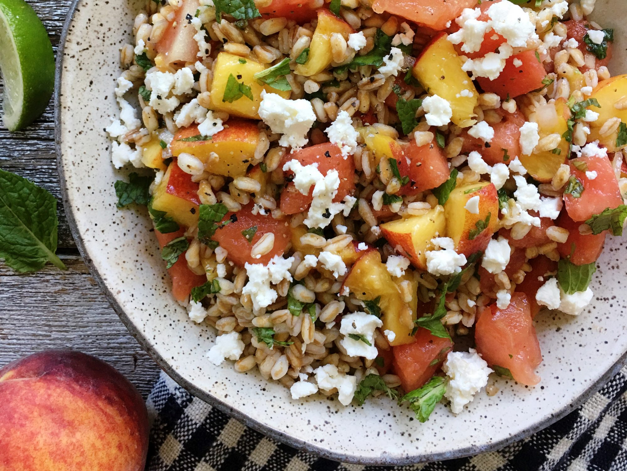 Toasted Farro Salad with Watermelon and Peaches
