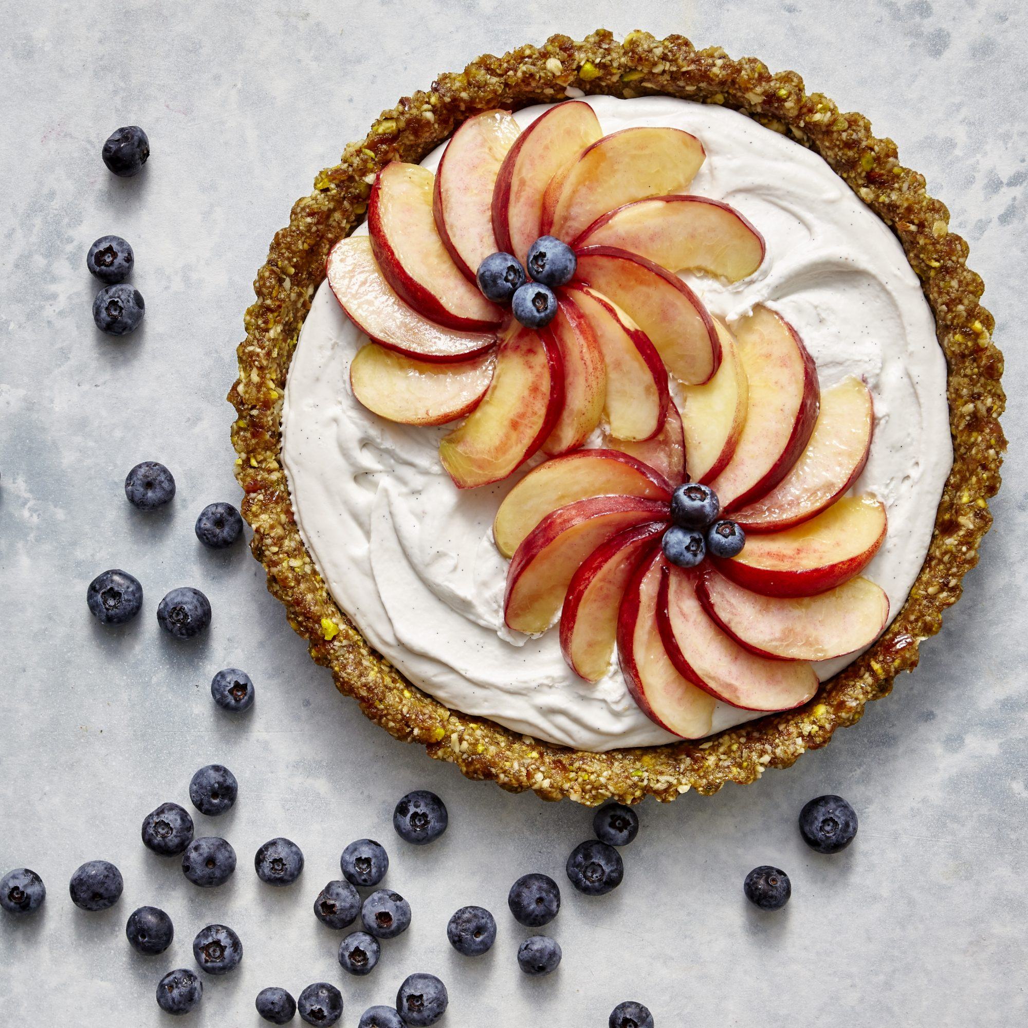 mr-Vegan Coconut Cream Tart with White Peaches and Blueberries image