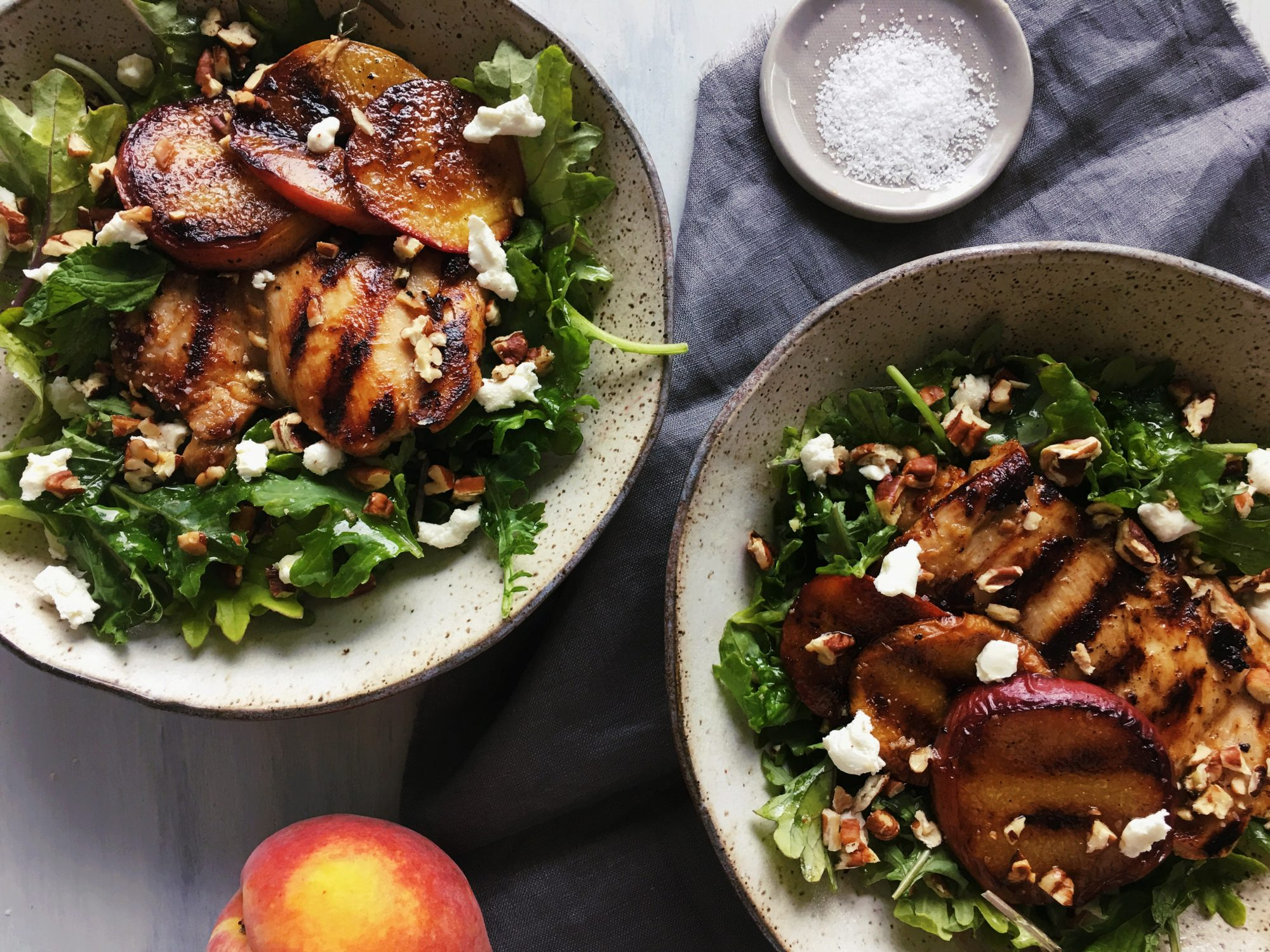 Grilled Ginger-Lime Chicken Thighs with Peaches