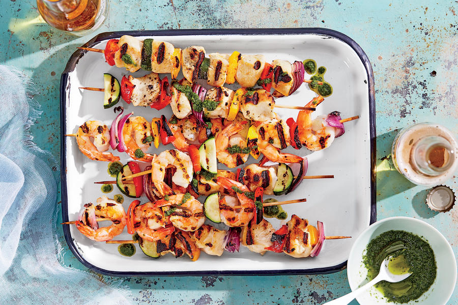 sl-Chicken-and-Shrimp Kebabs with Summer Vegetables and Basil Oil