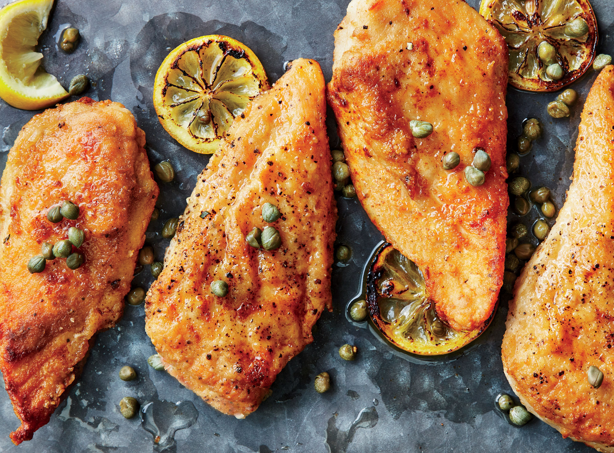 Quick Chicken Picatta with Parslied Orzo