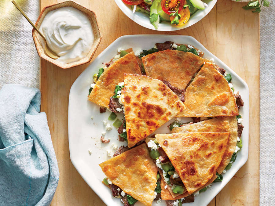 ck-Steak, Feta, and Olive Quesadillas
