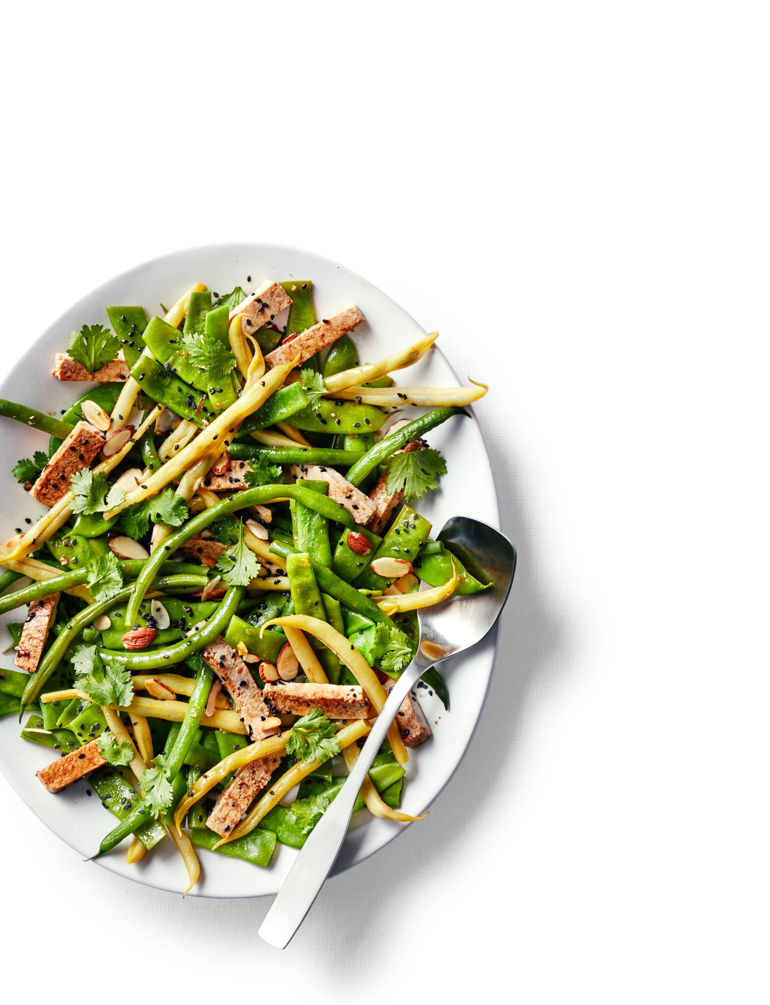 Pole Bean Salad with Ginger-Soy Tofu