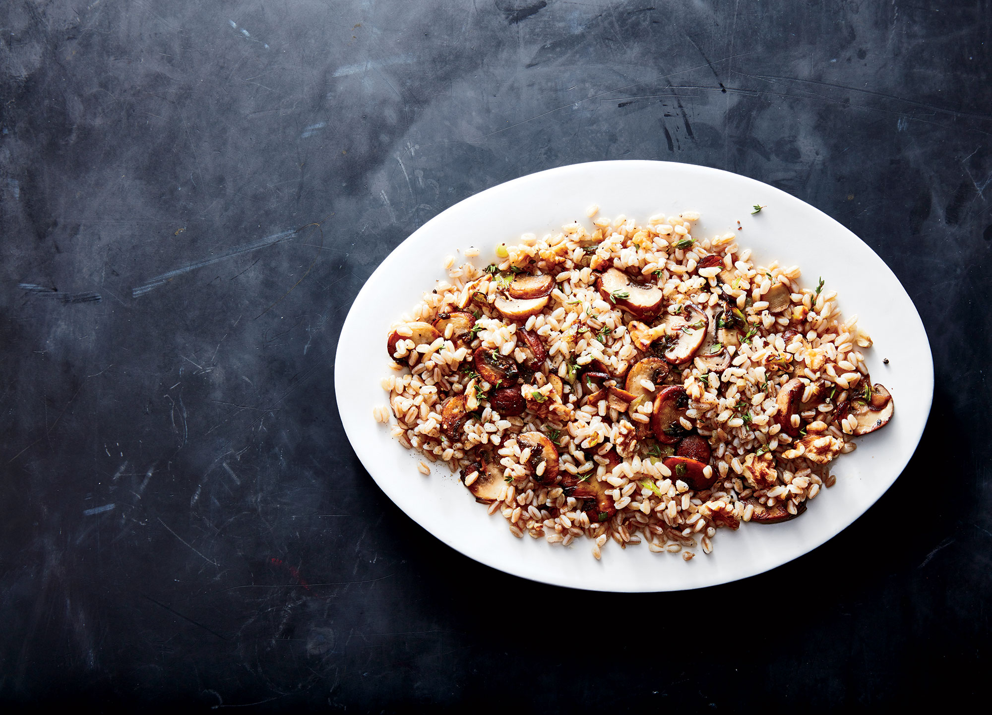 Farro, Mushroom, and Walnut Pilaf