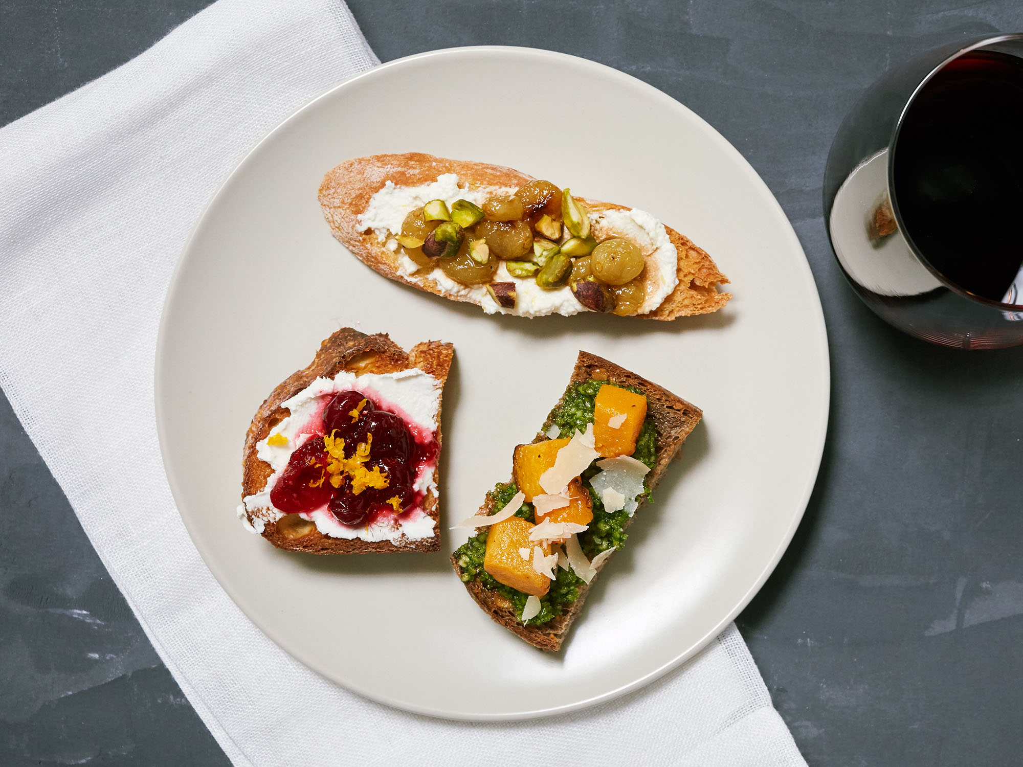 Roasted Grape and Ricotta Toasts