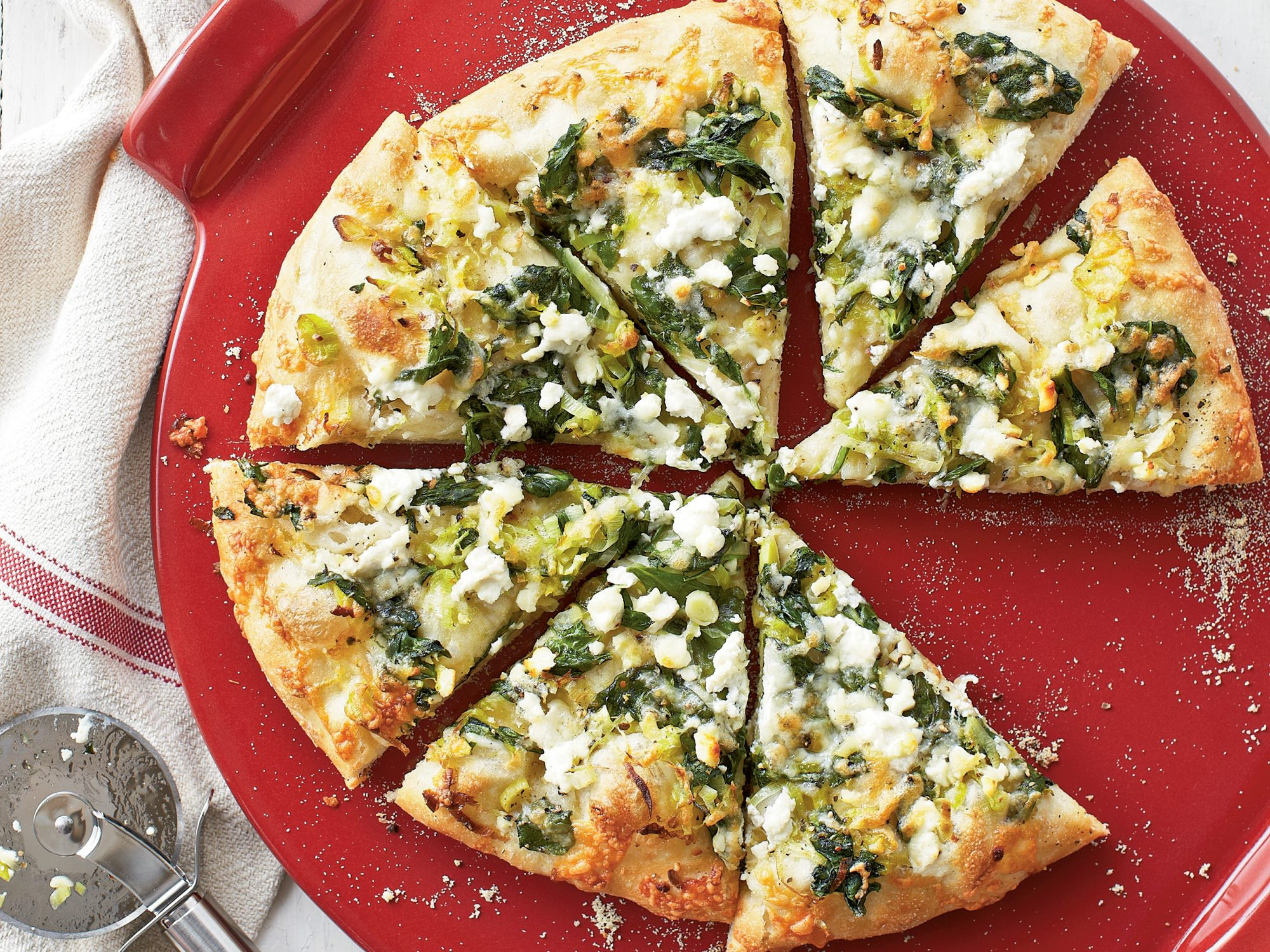 Three Cheese Spinach Pizza