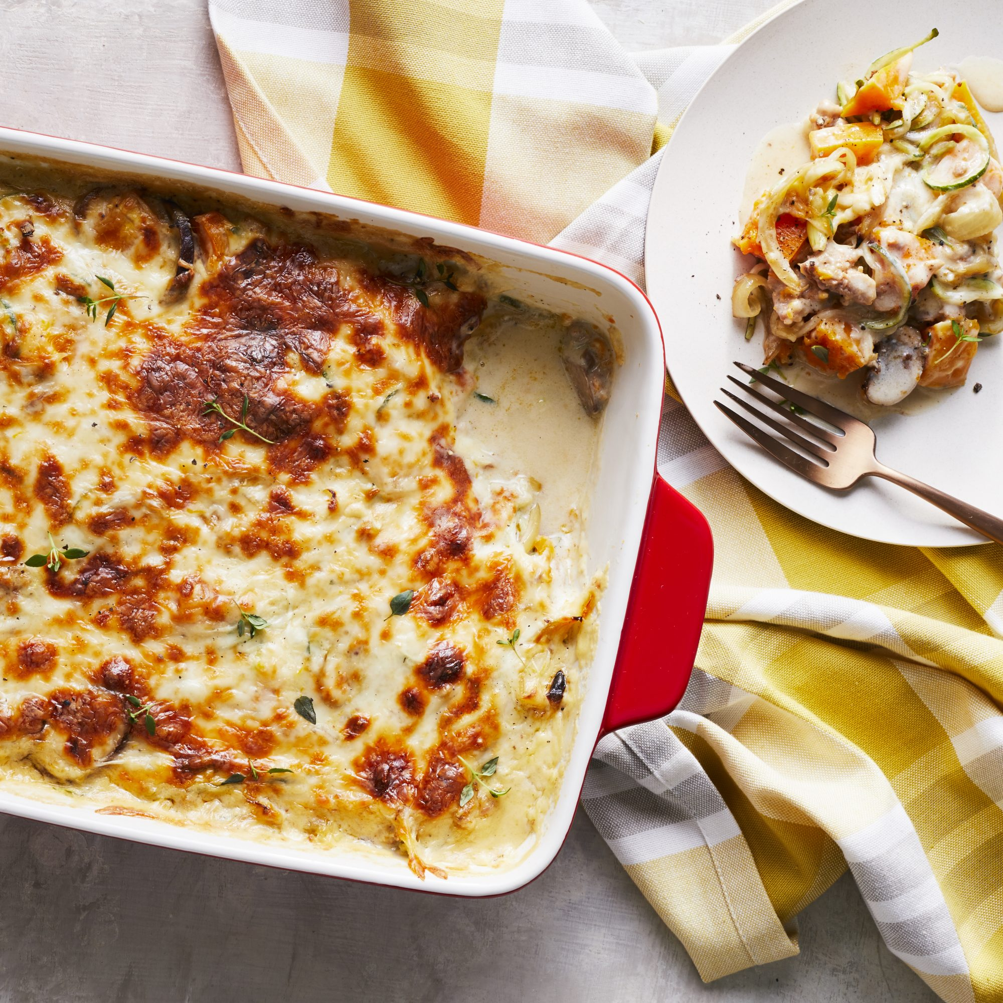 Creamy Sausage and Zoodle Bake