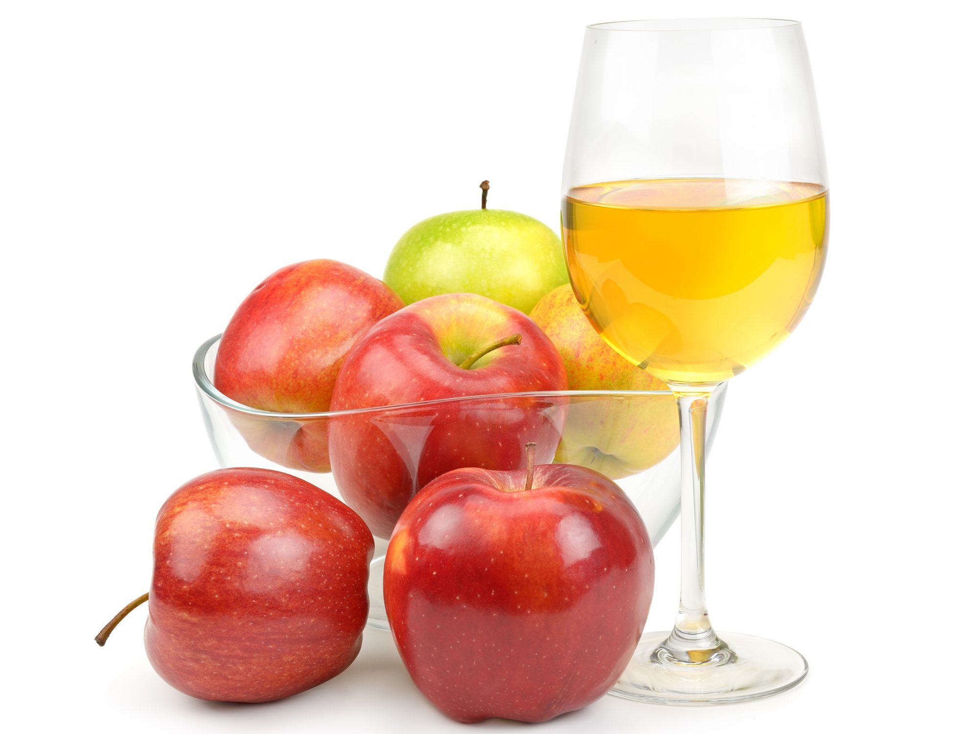 Cider in Wine Glass with Apples