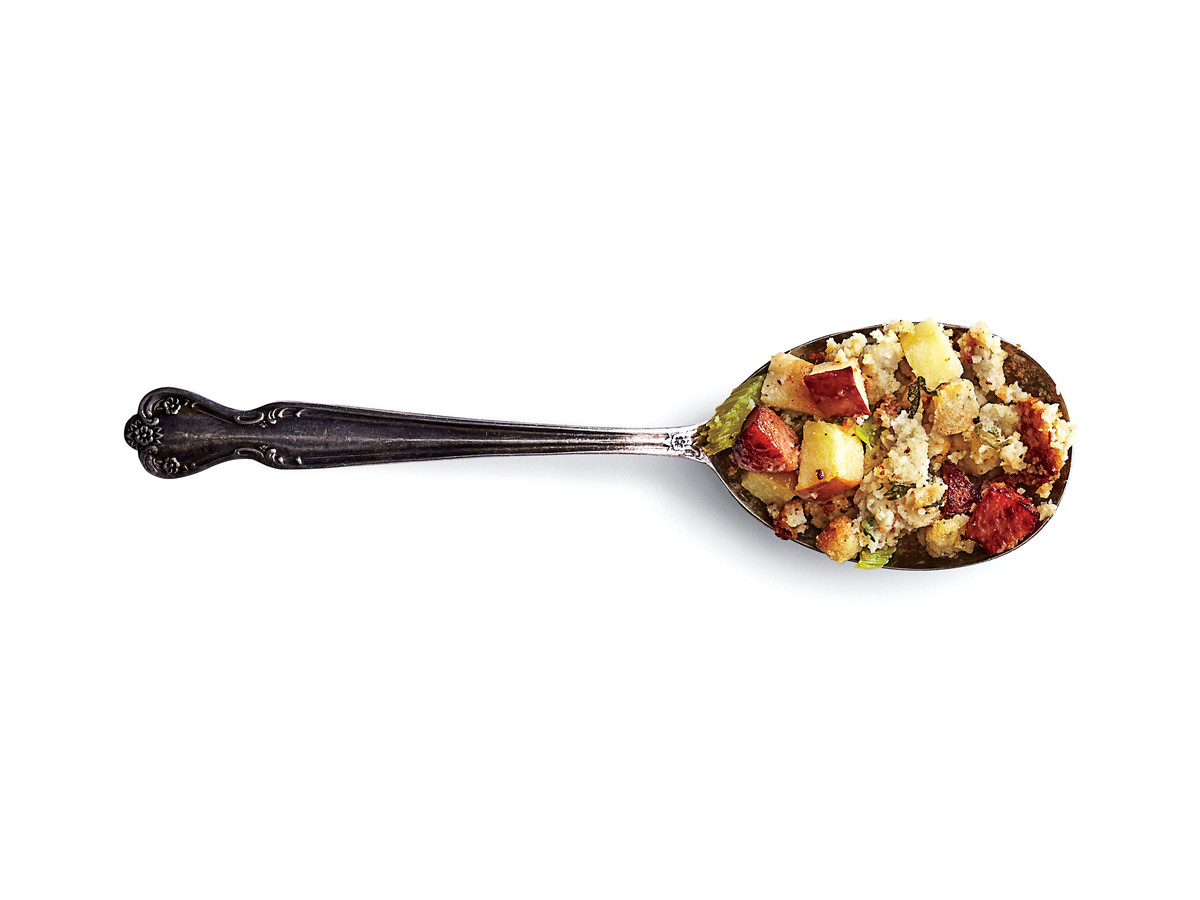 Cornbread Dressing with Smoked Sausage and Apples