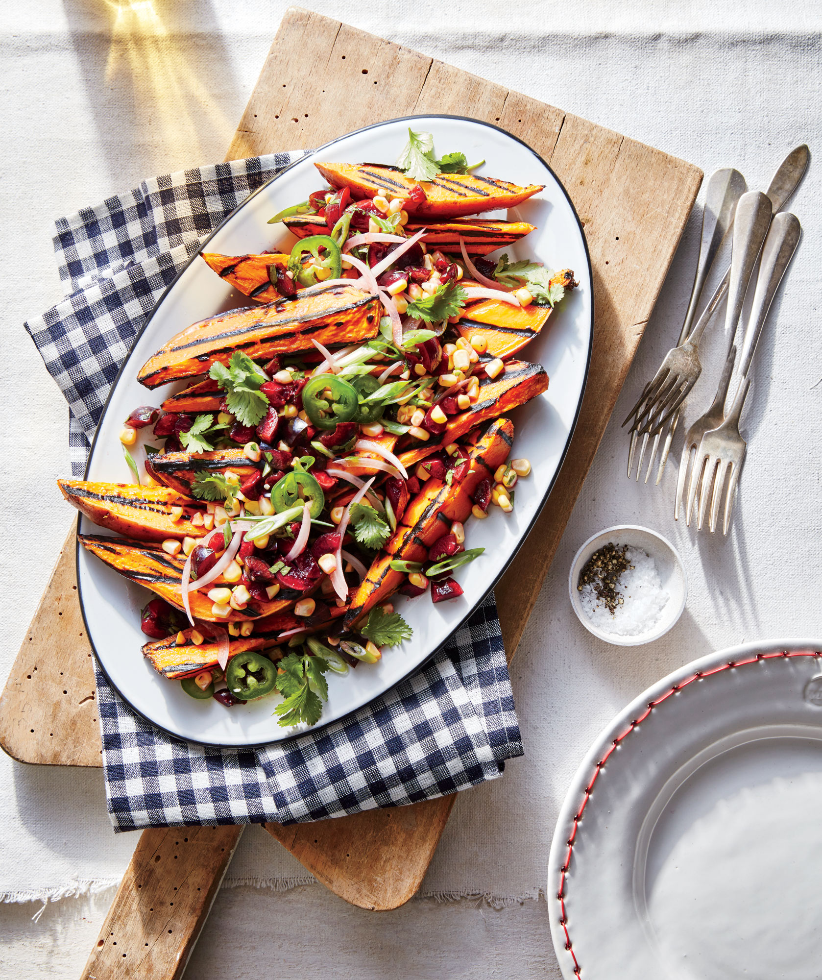 Grilled Sweet Potatoes with Fresh Cherry Salsa