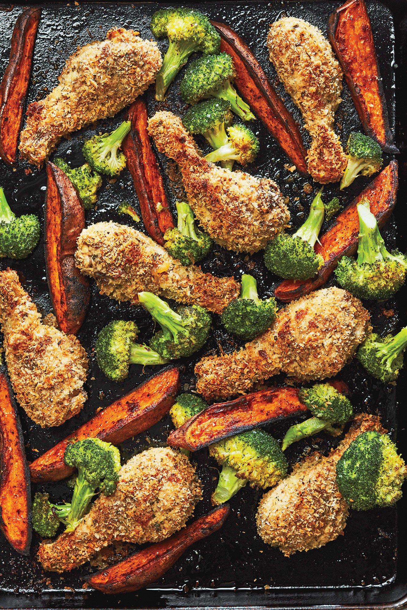 Sheet Pan Parmesan  Fried  Chicken with Broccoli and Sweet Potato Wedges