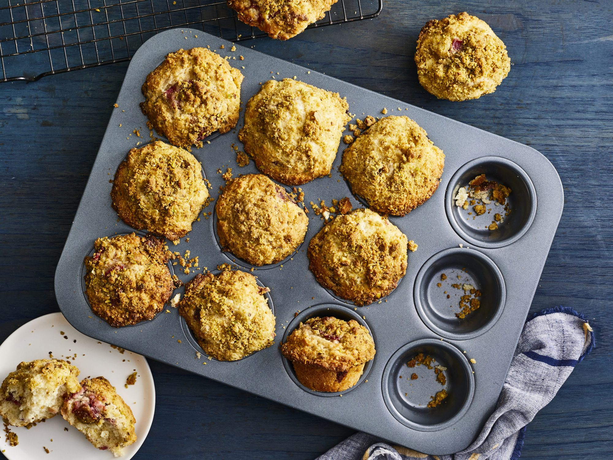 Roasted Strawberry-Rhubarb Muffins with Pistachio Streusel