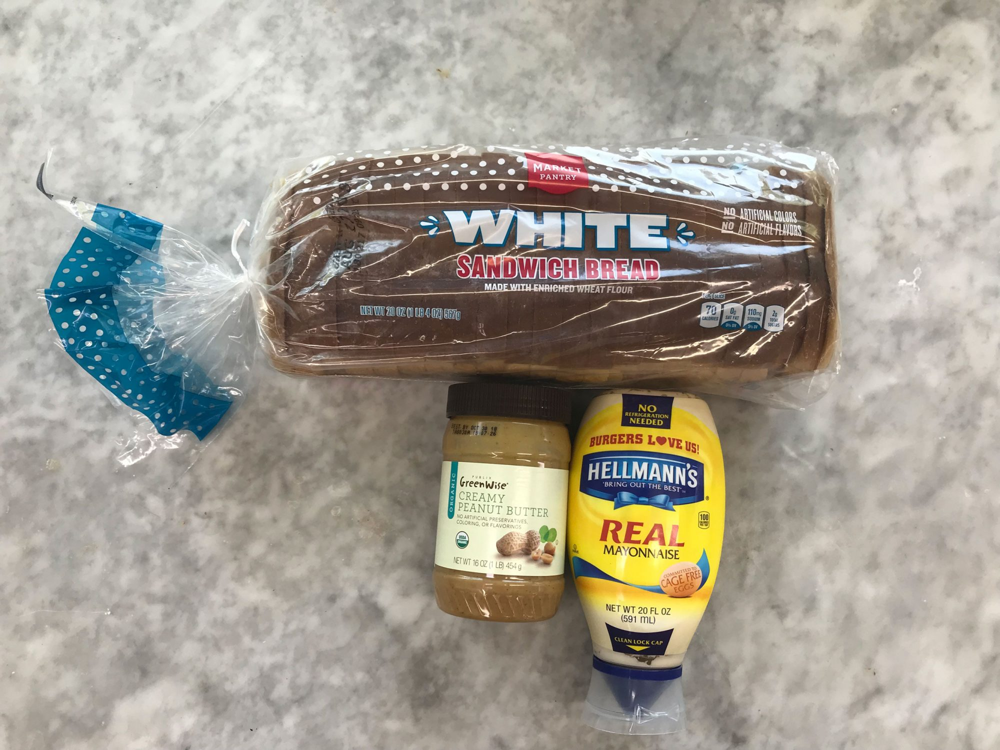 peanut butter and mayonnaise sandwich ingredients