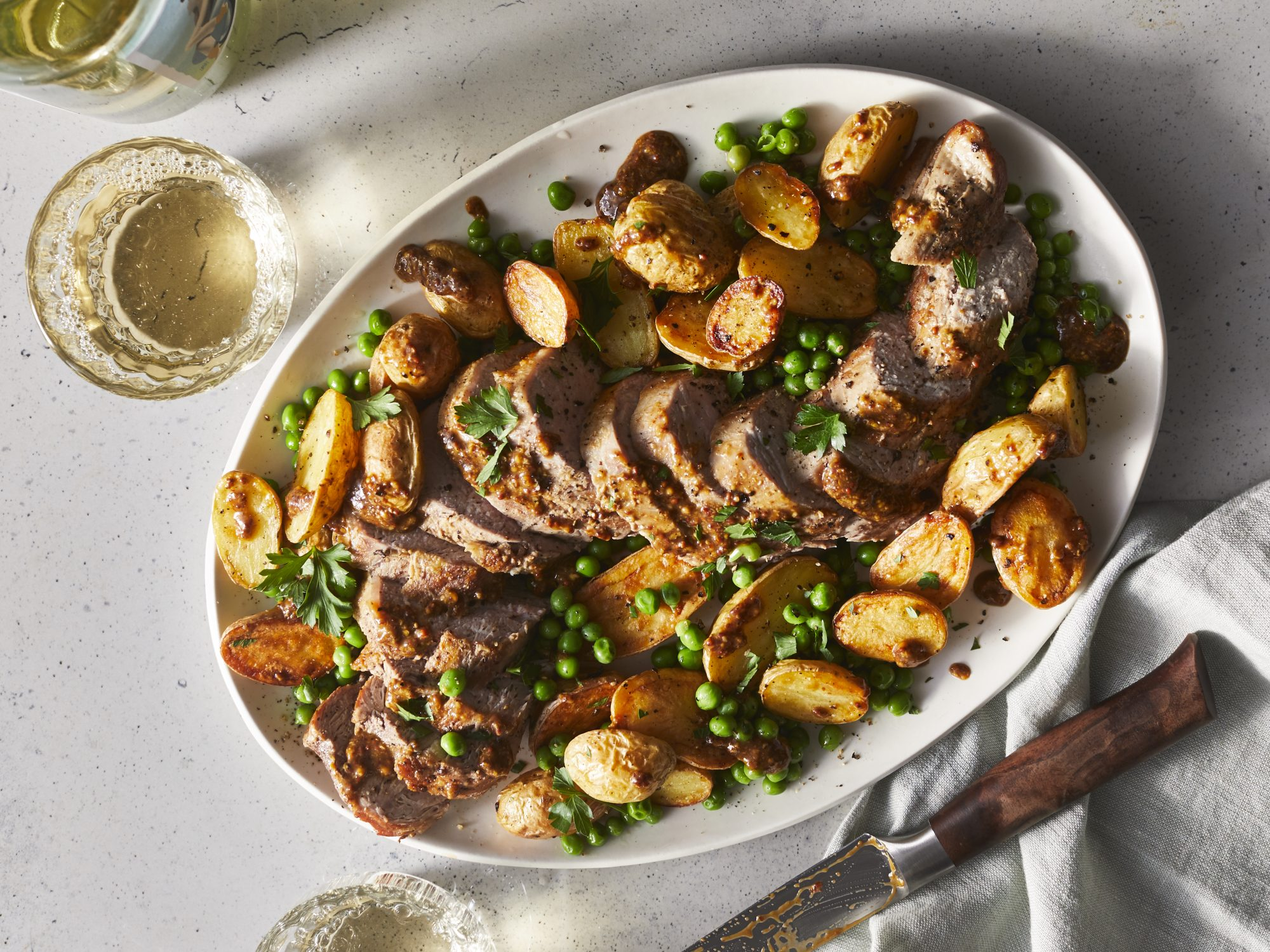 Roasted Pork Tenderloin With Golden Potatoes And Herb Dressing