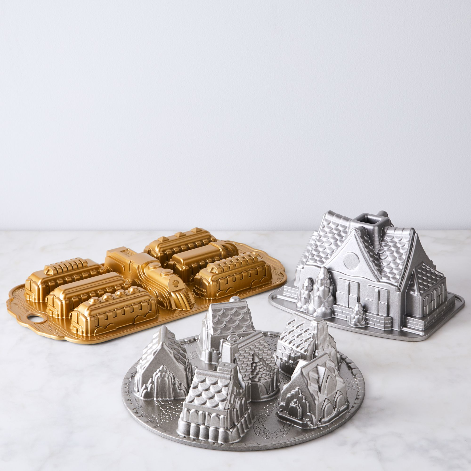 Nordic Ware Cozy Village and Train Baking Pans