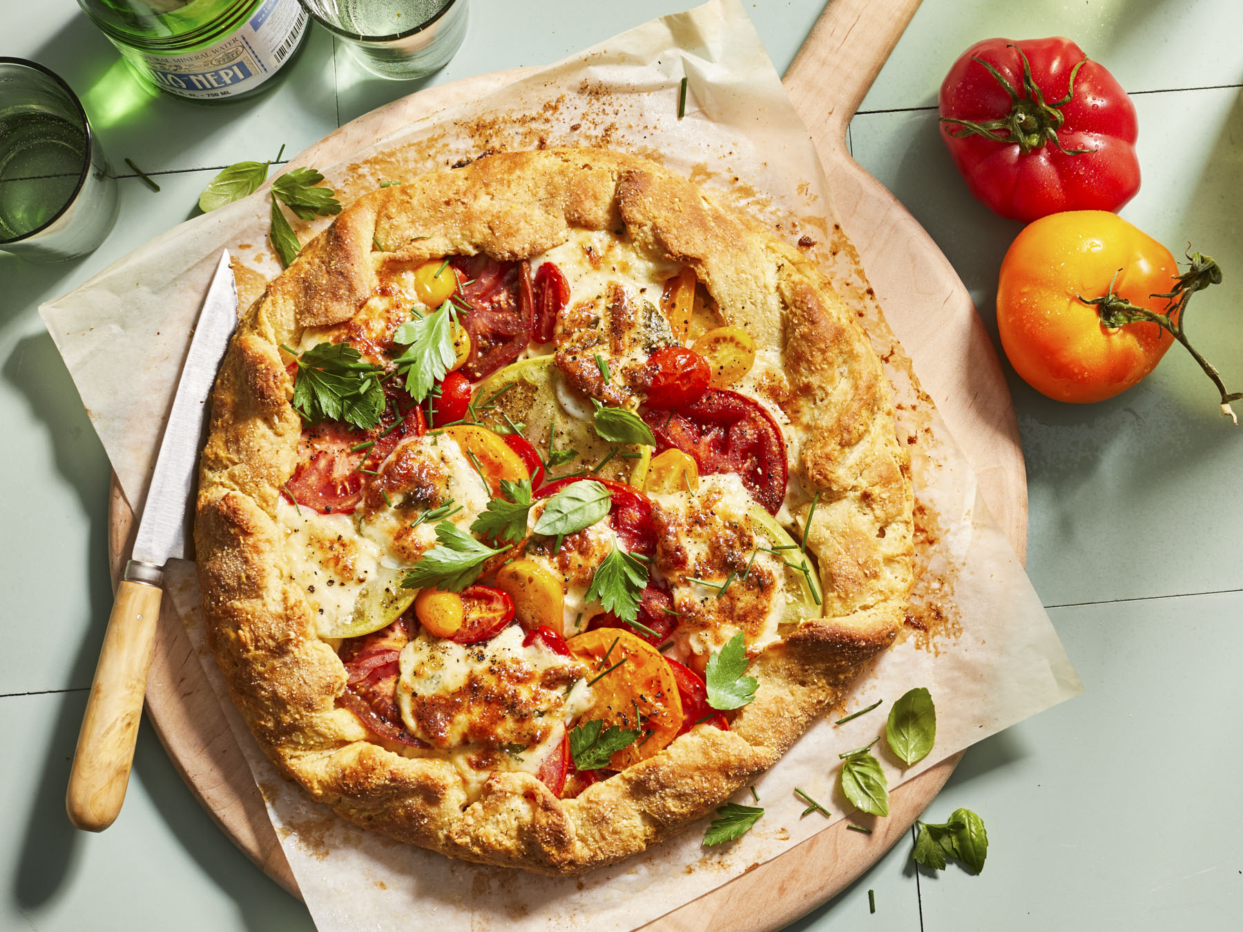 Tomato Tart with Smoked Mozzarella and Dijon