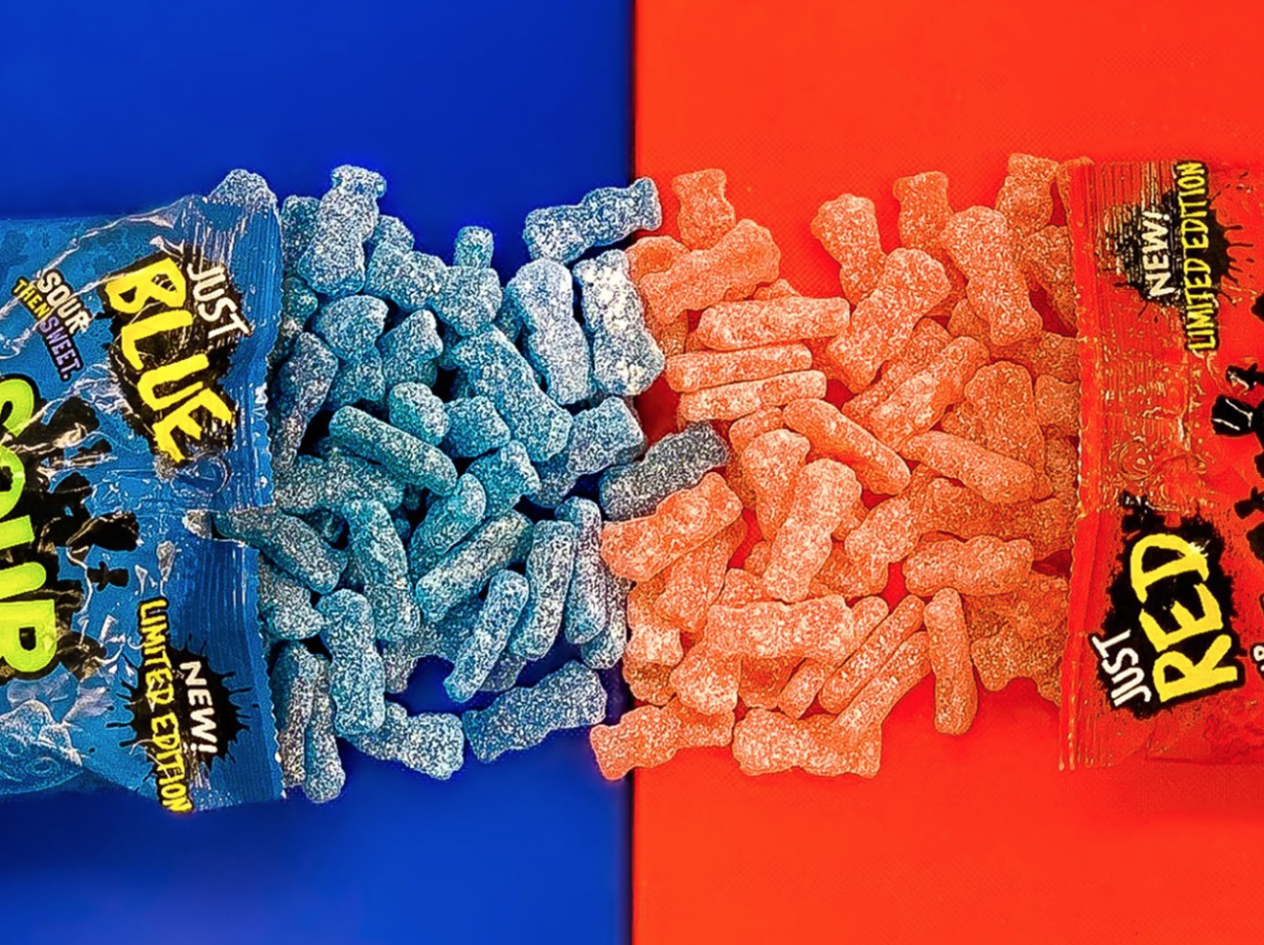 Sour Patch Kids blue red bags
