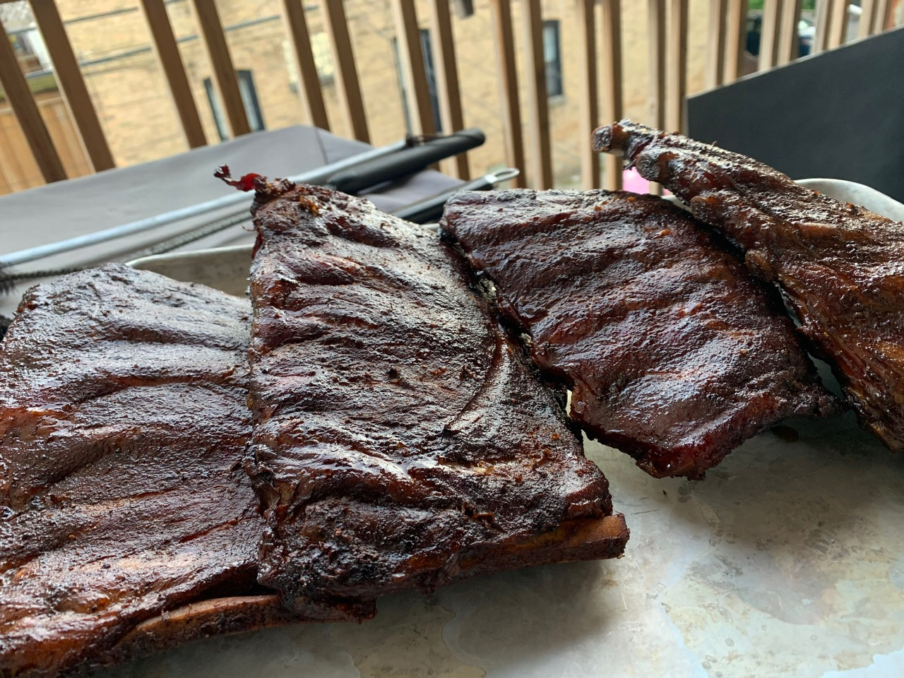 finished ribs outside