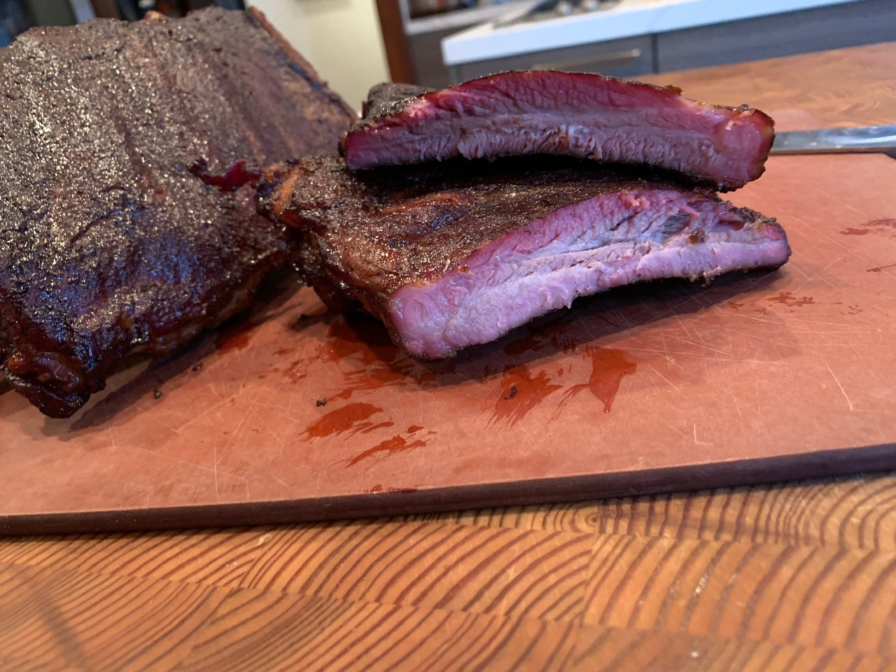finished ribs cut
