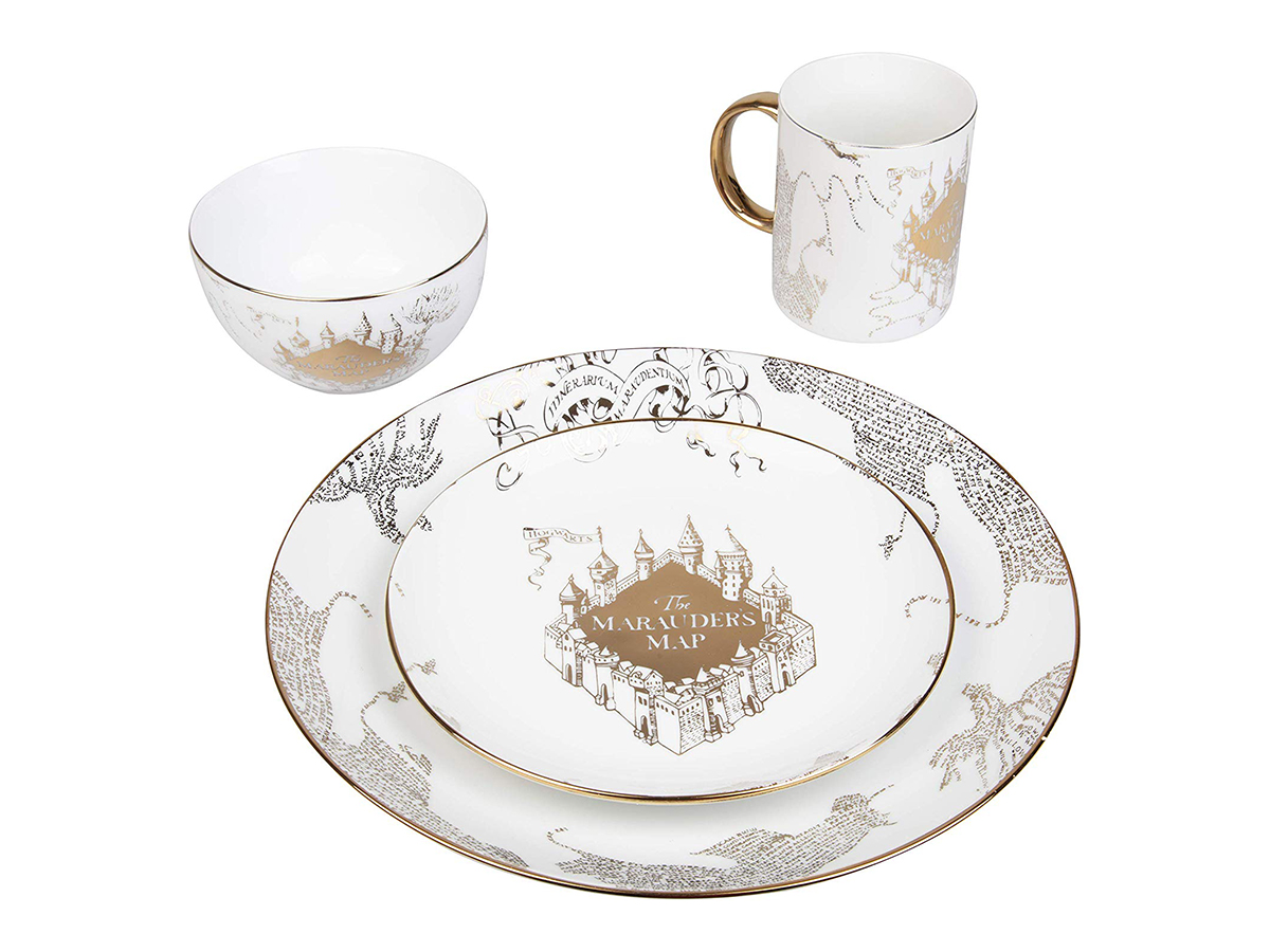 Harry Potter Marauder's Map Porcelain 4 Piece Set Spread