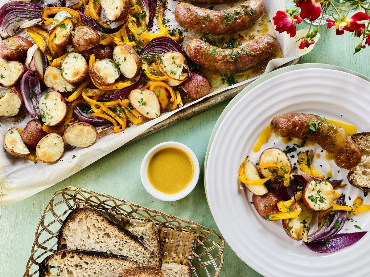 Sheet Pan Honey-Mustard Sausages