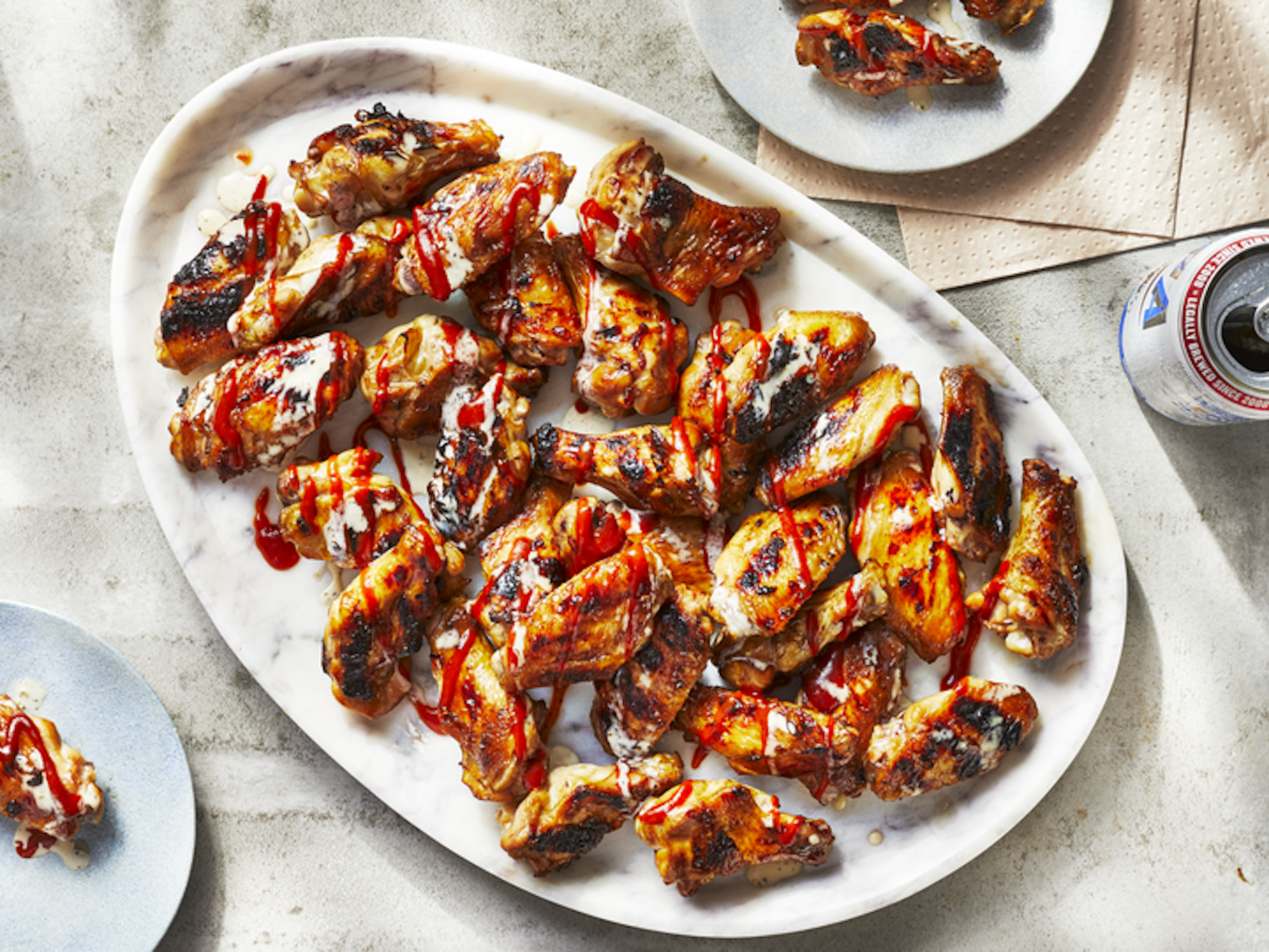 Pellet Grill Sweet Tea Brined Chicken Wings With Double BBQ Sauce