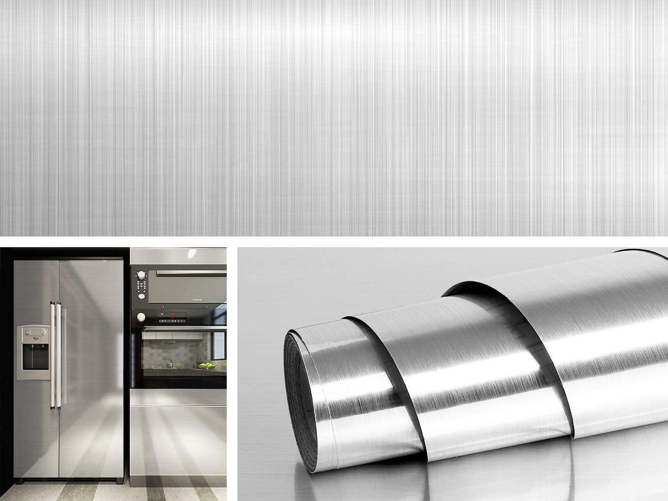 Peel-and-Stick Stainless Steel Wallpaper