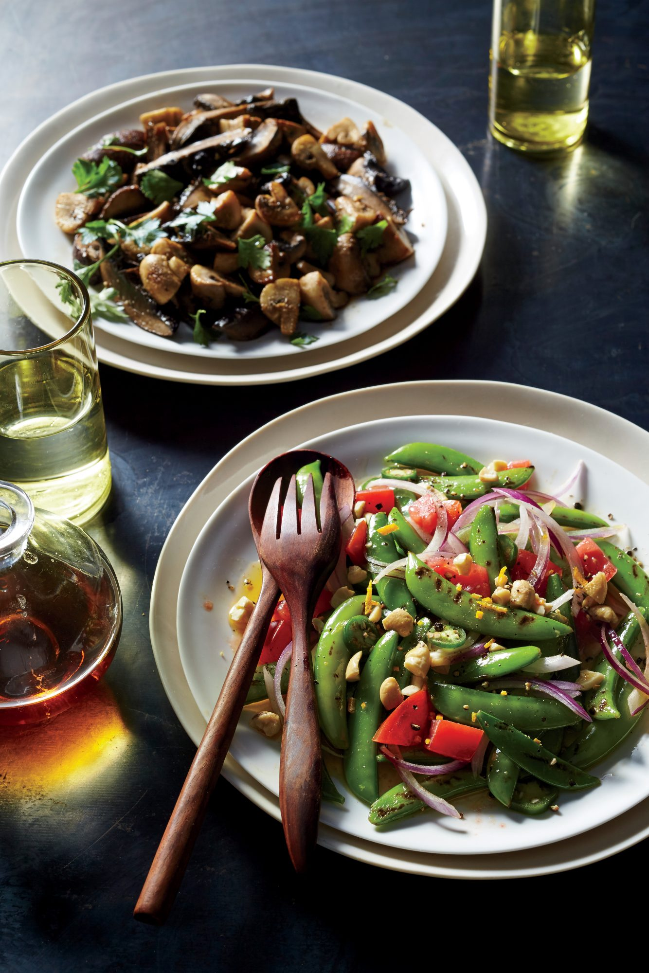 Blistered Snap Peas with Fish Sauce Vinaigrette, Roasted Cashews, and Basil