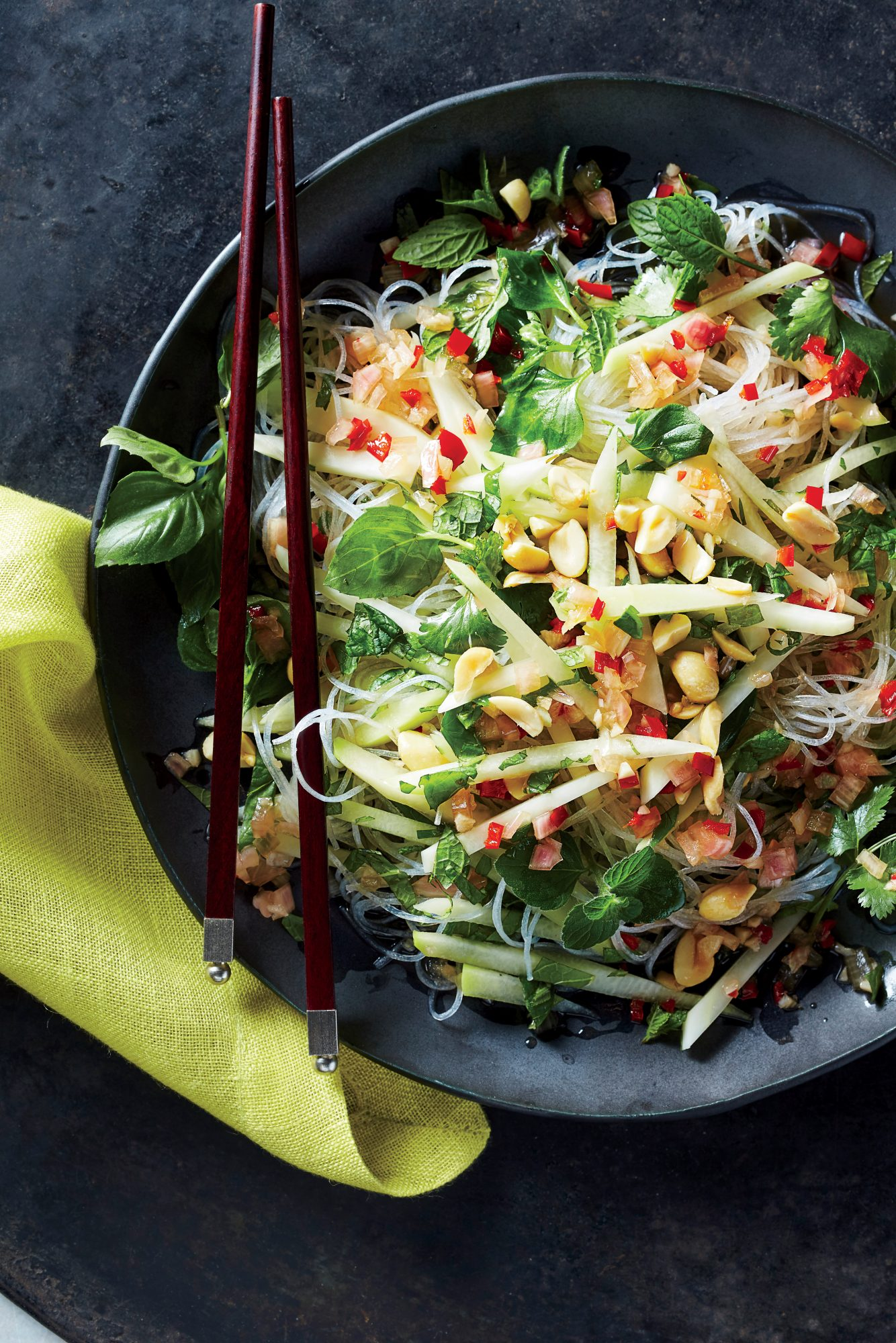 Glass Noodles with Green Papaya Peanuts and Chili Vinaigrette
