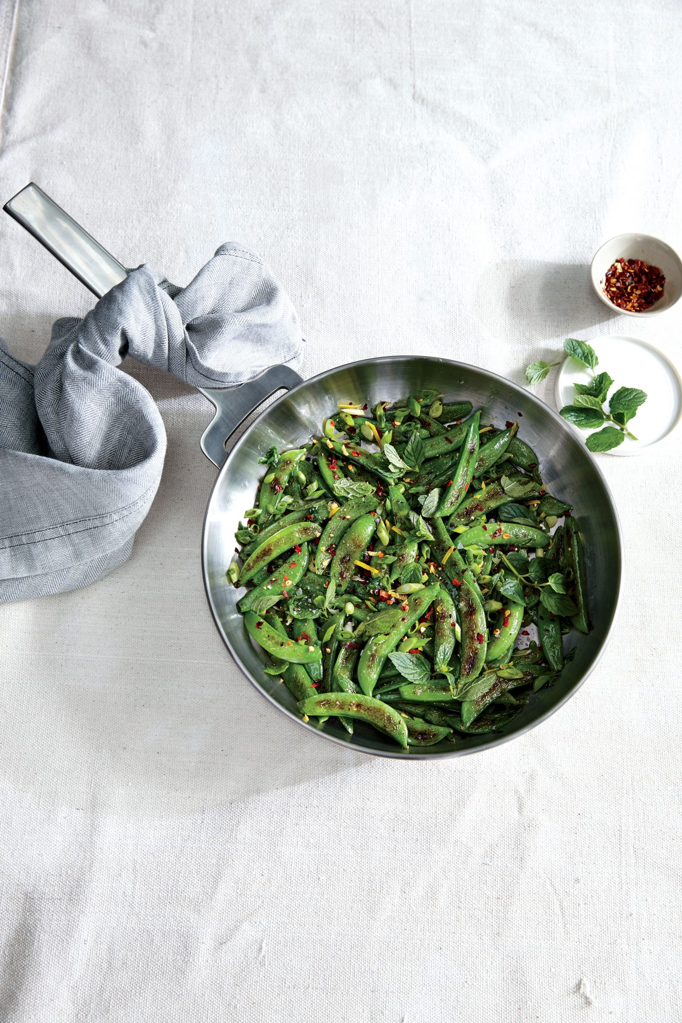 Sauteed Sugar Snap Peas with Chile Lemon and Mint