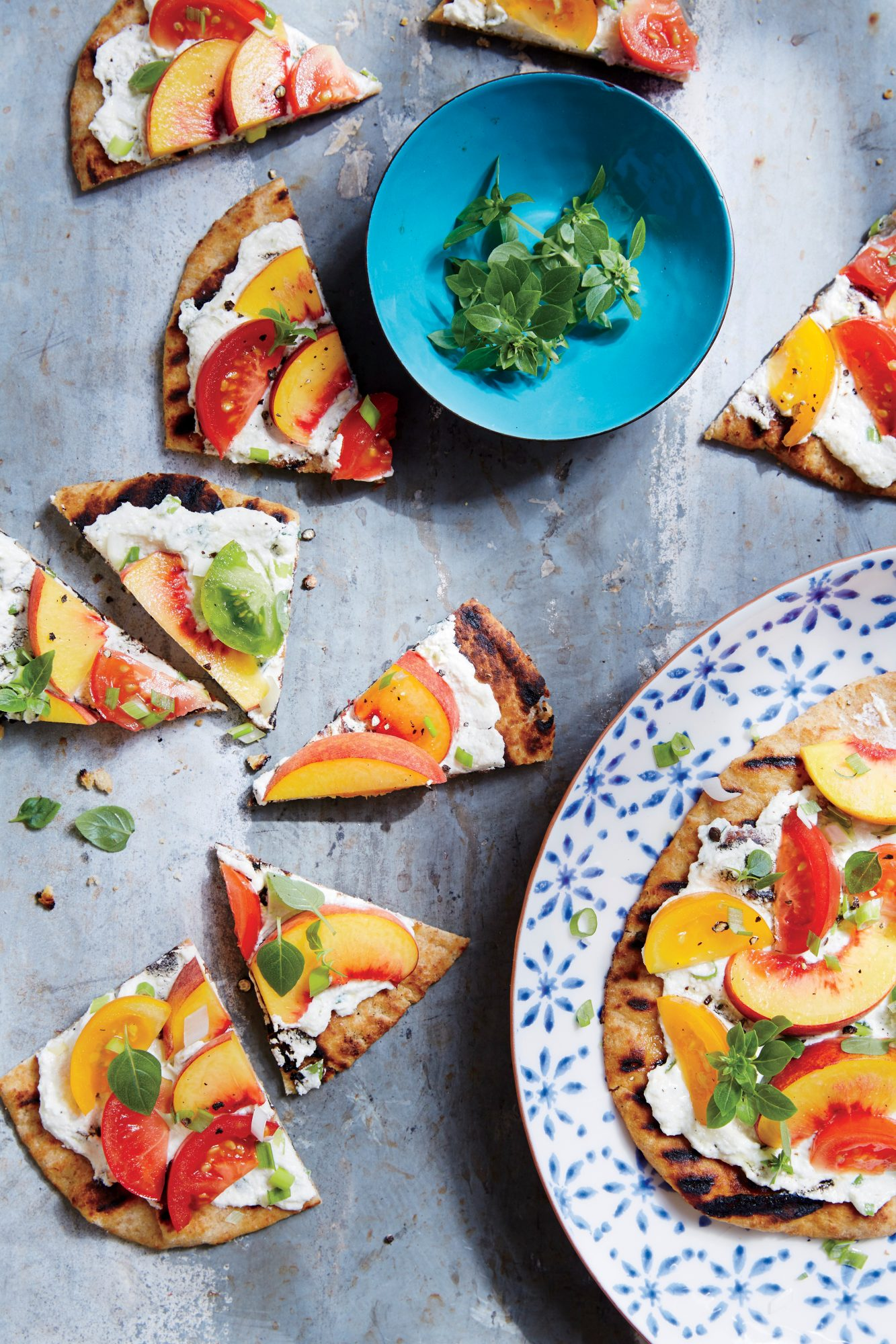 ck-Tomato and Peach Flatbreads and Basil Image