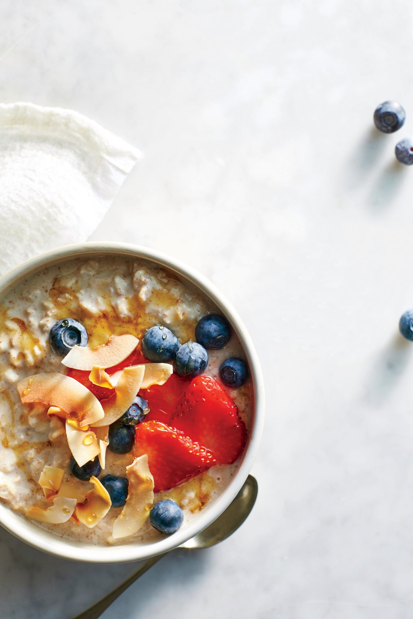 Overnight Oats with Kefir Berries and Toasted Coconut