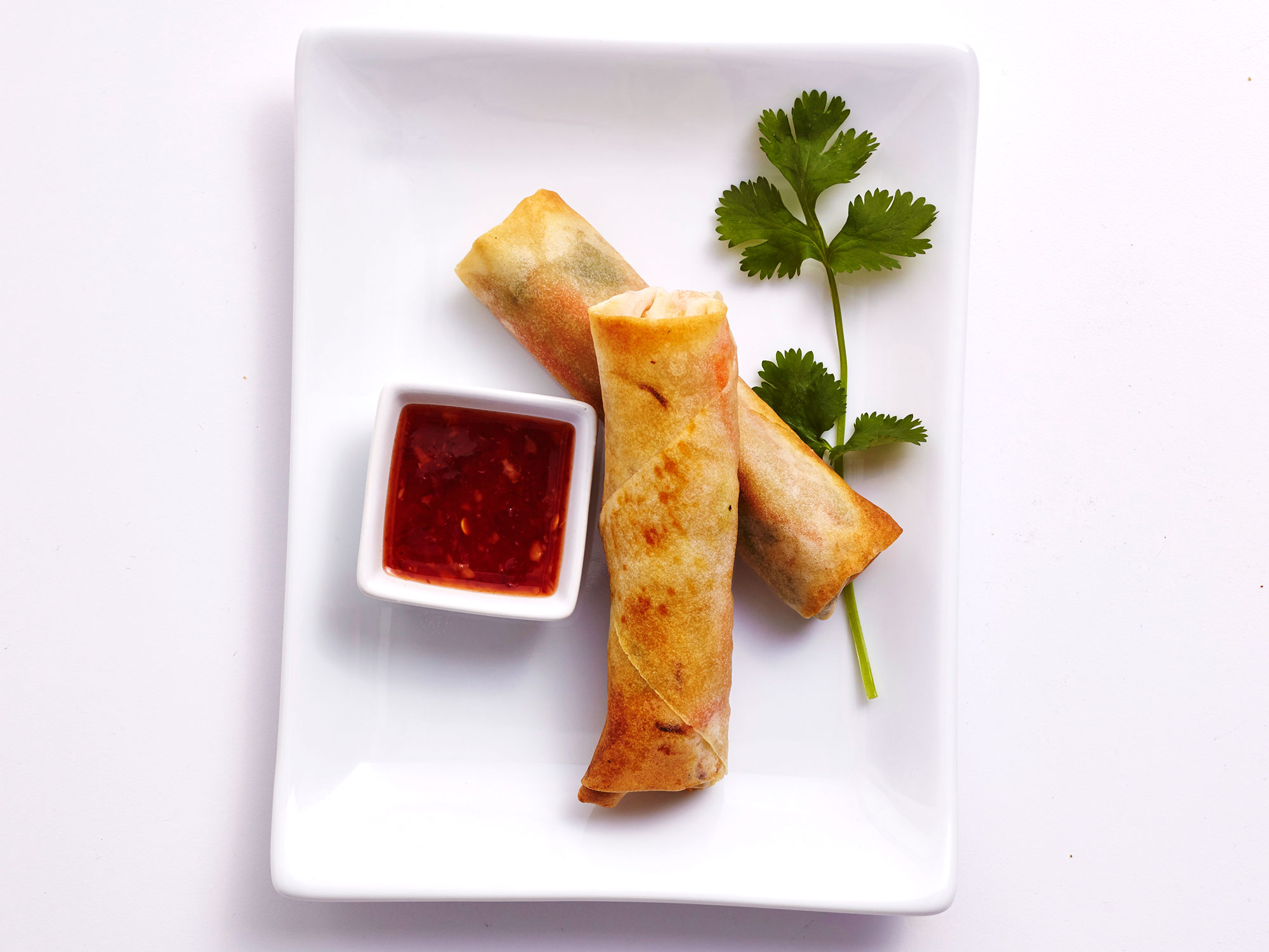 Air-Fried Shrimp Spring Rolls With Sweet Chili Sauce
