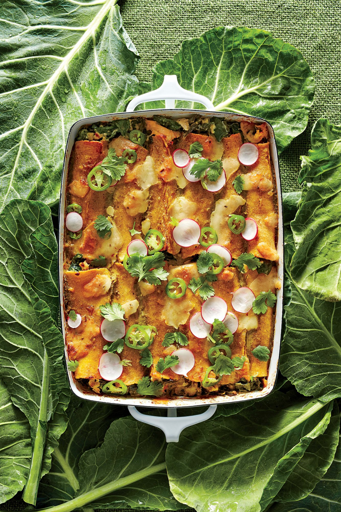 Creamy Chicken and Collard Green Enchiladas