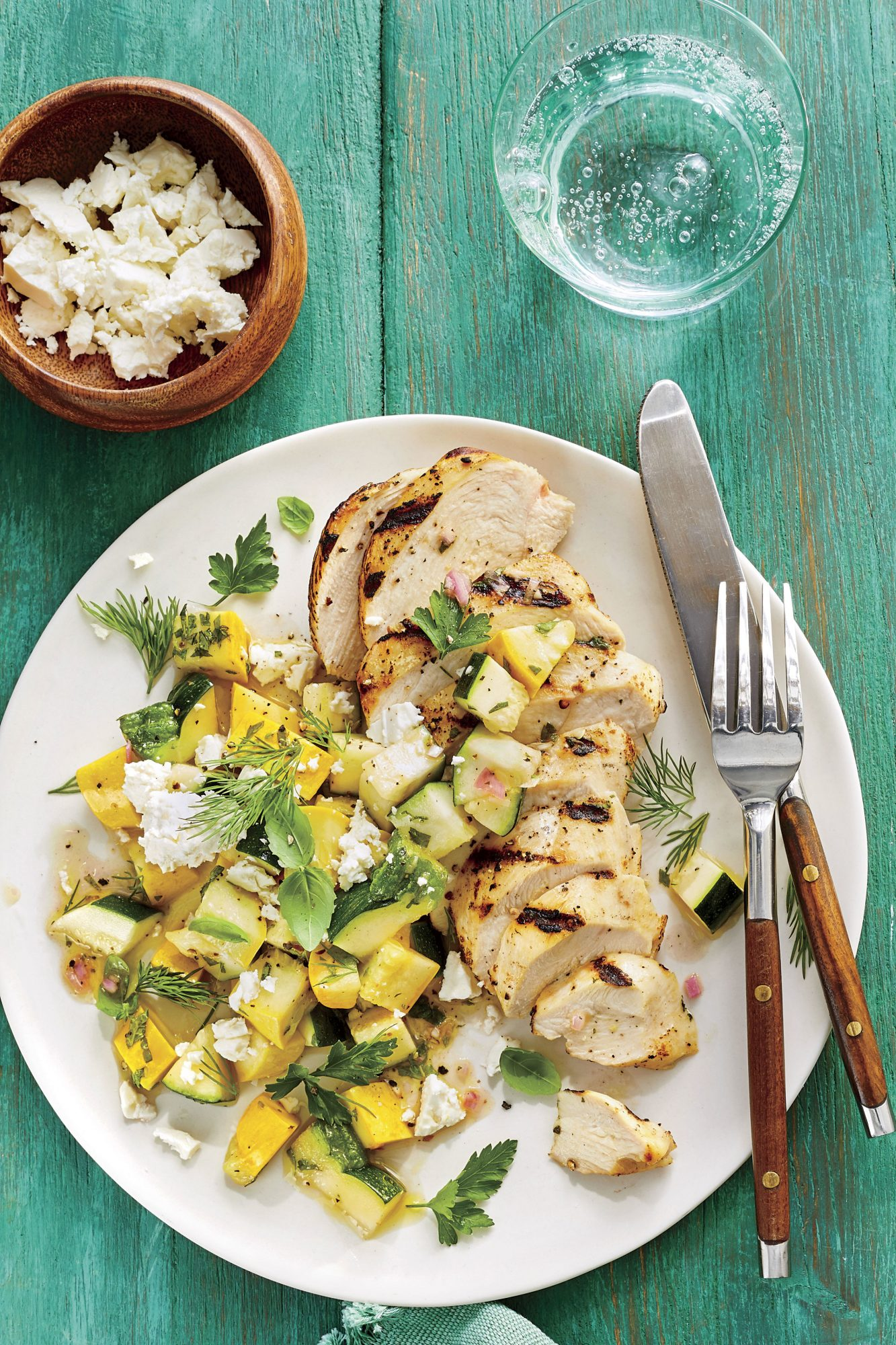 Grilled Chicken with Quick-Pickled Squash Salad