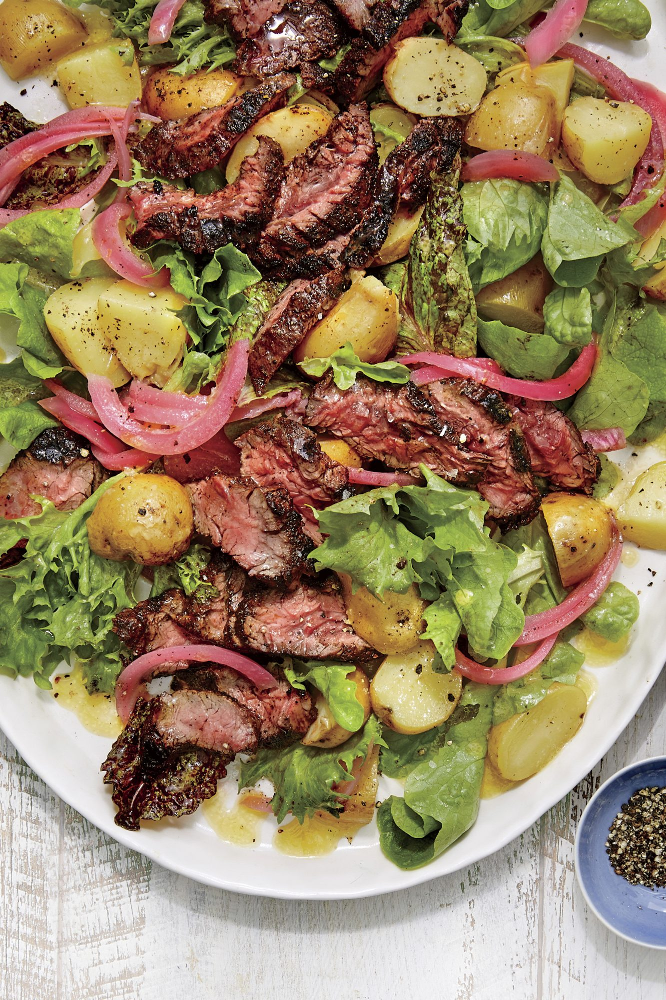 sl-Grilled Steak Salad with Potatoes and Pickled Red Onion