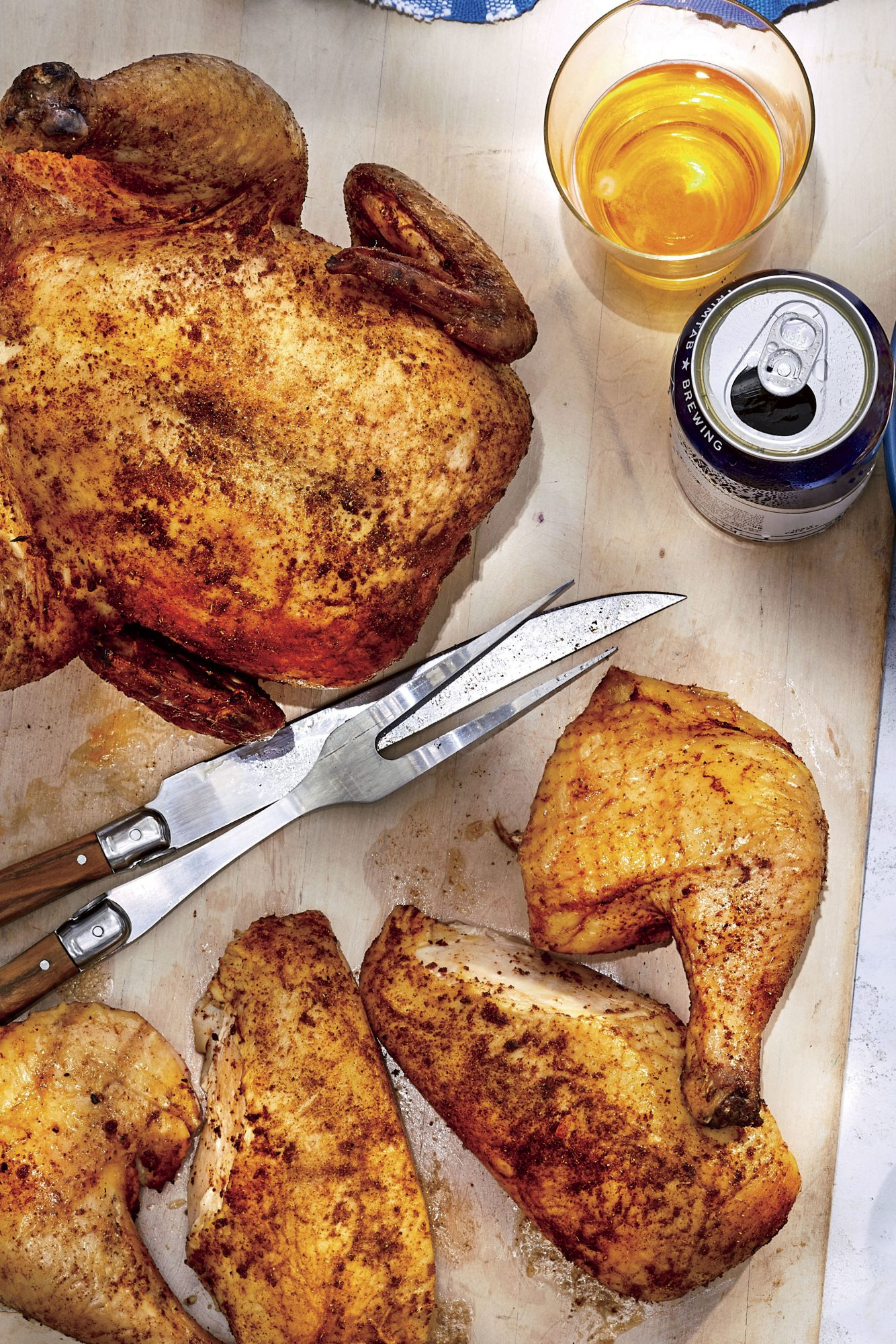 Dry-Brined Beer-Can Chickens
