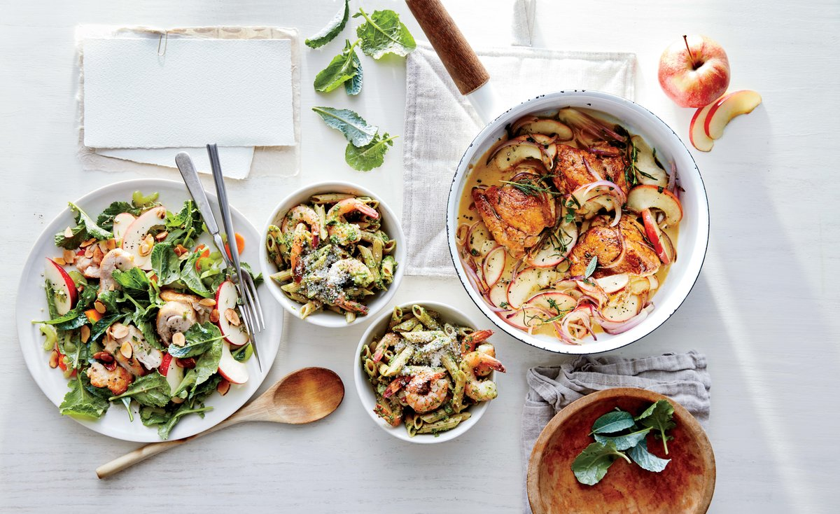 Kale Pesto Pasta with Shrimp