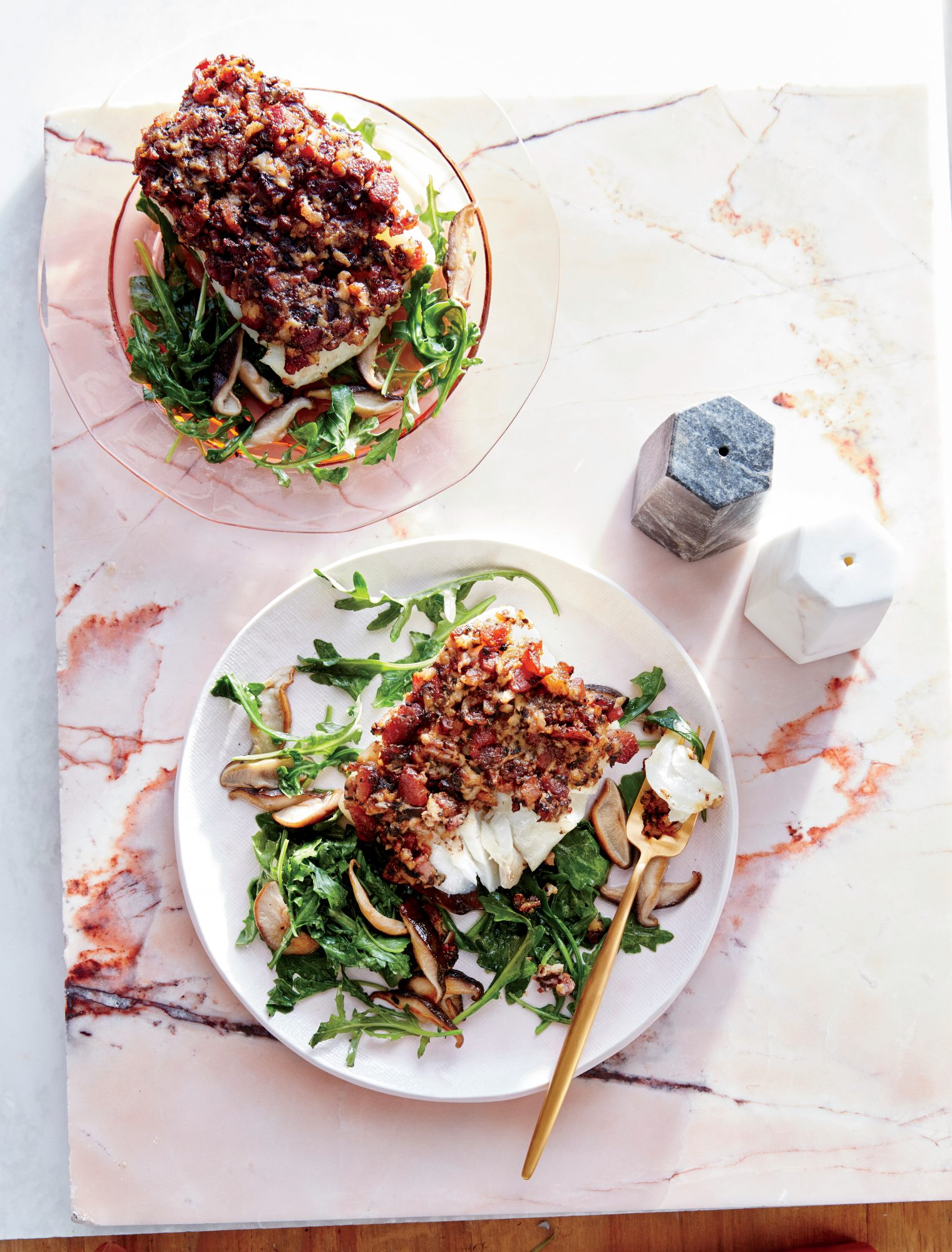 Cod with Shiitake-Bacon Crust and Arugula Salad